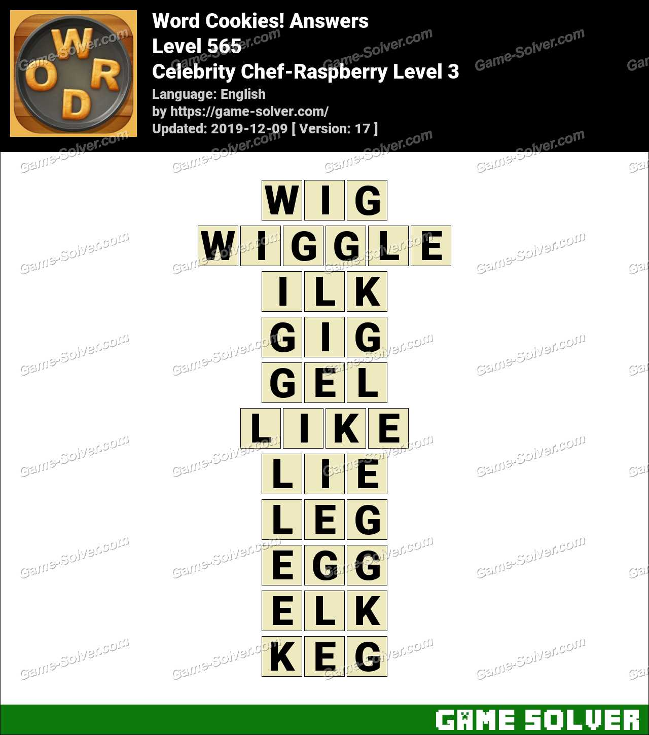 Word Cookies Celebrity Chef-Raspberry Level 3 Answers
