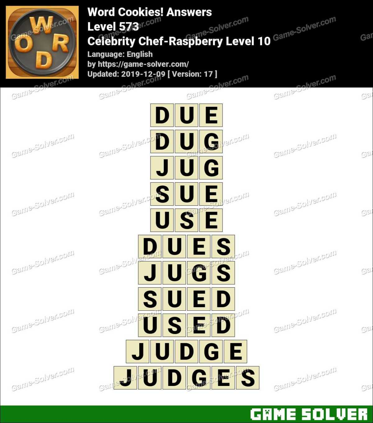 Word Cookies Celebrity Chef-Raspberry Level 10 Answers