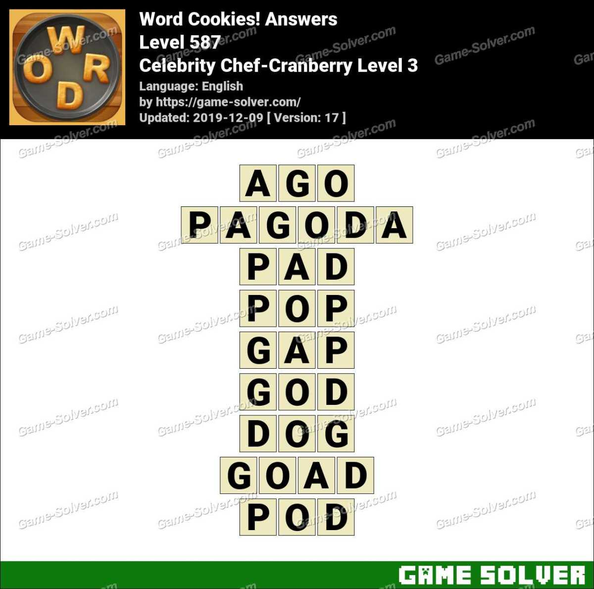 Word Cookies Celebrity Chef-Cranberry Level 3 Answers