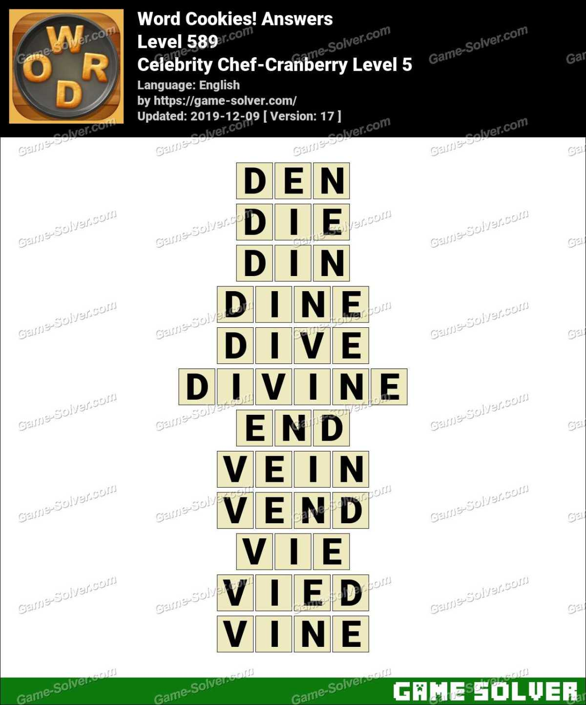 Word Cookies Celebrity Chef-Cranberry Level 5 Answers