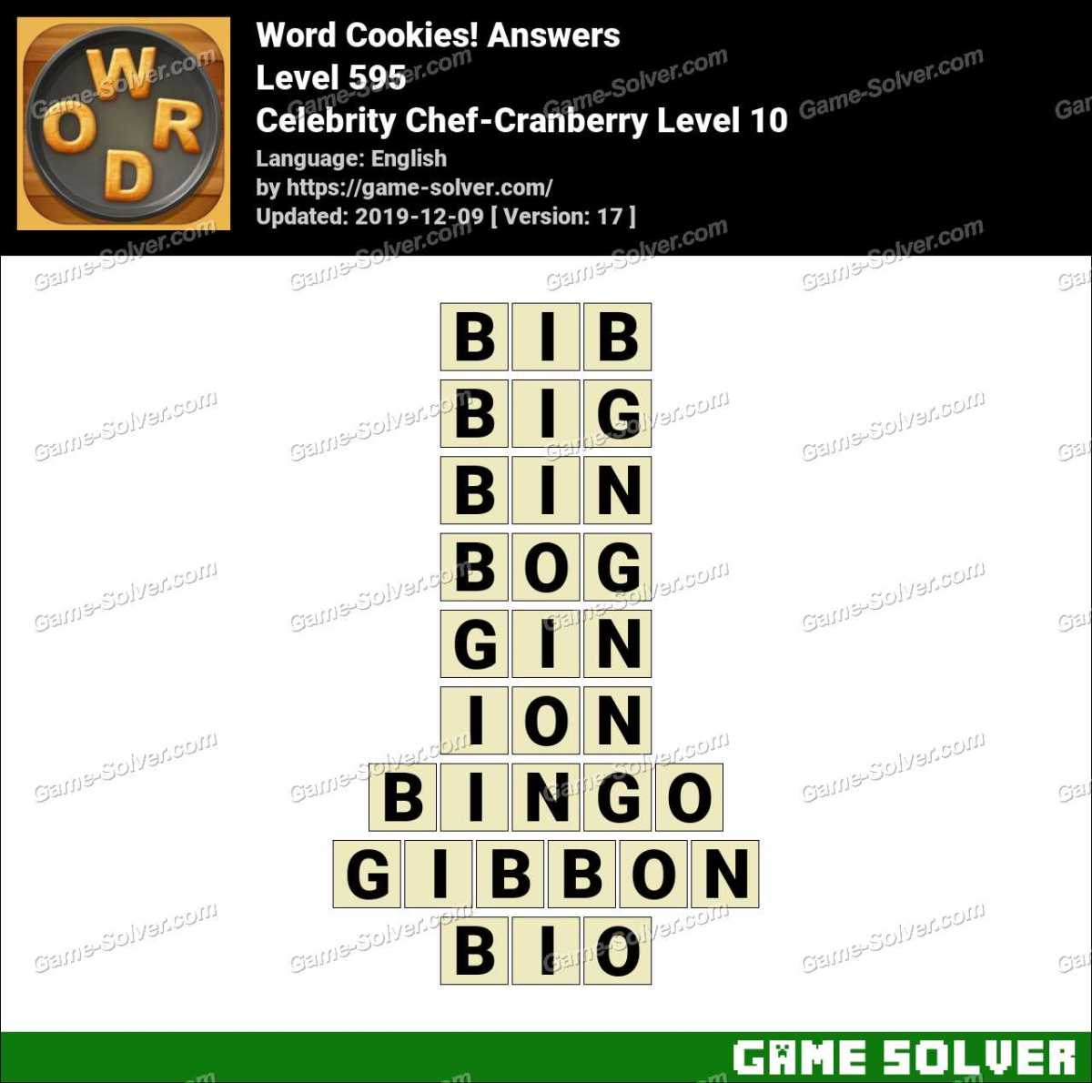 Word Cookies Celebrity Chef-Cranberry Level 10 Answers