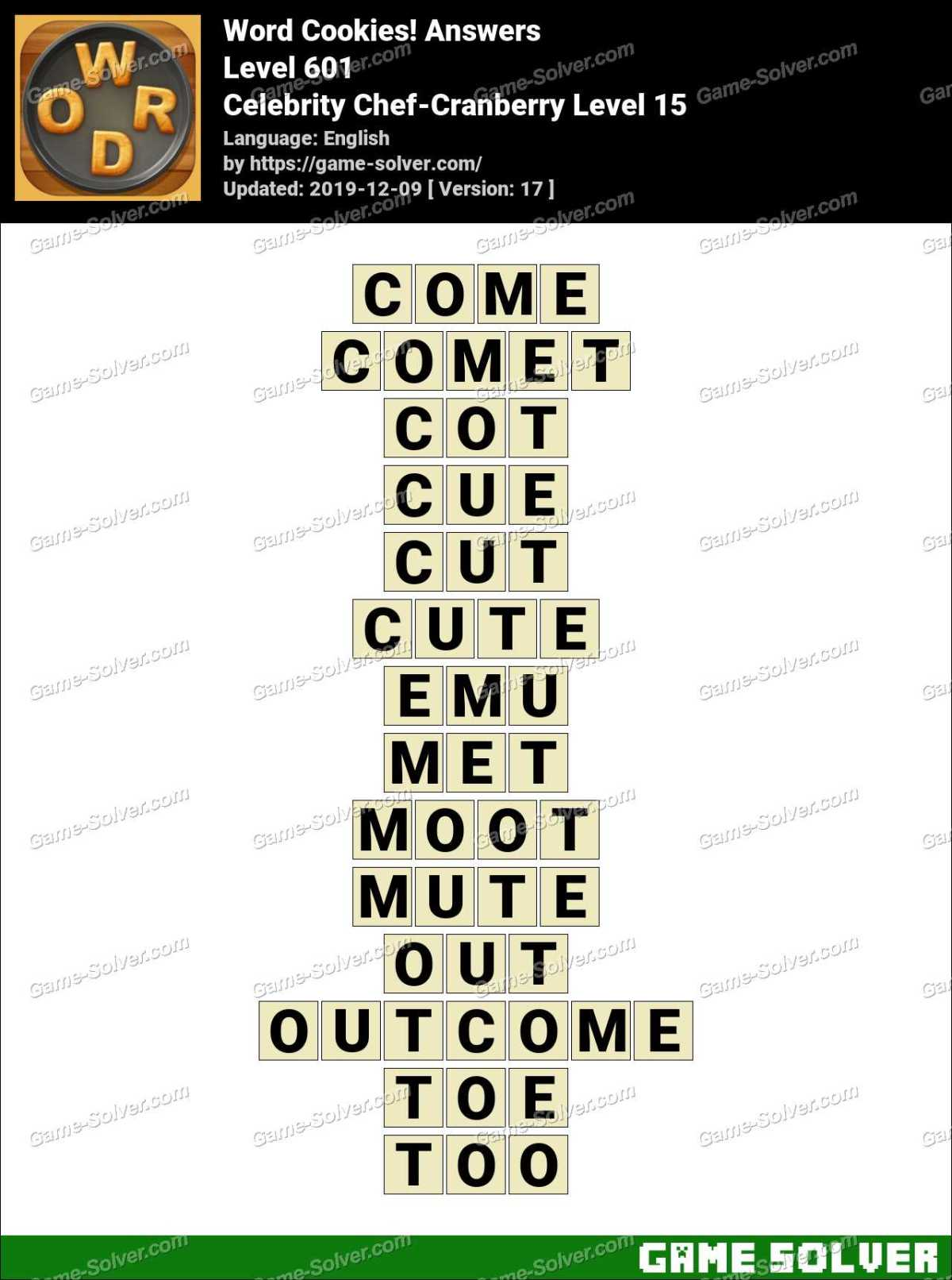 Word Cookies Celebrity Chef-Cranberry Level 15 Answers