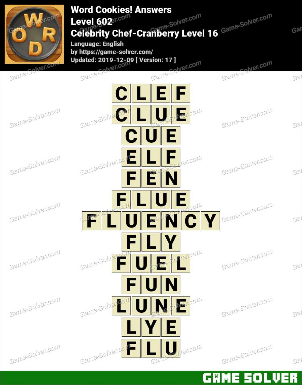 Word Cookies Celebrity Chef-Cranberry Level 16 Answers