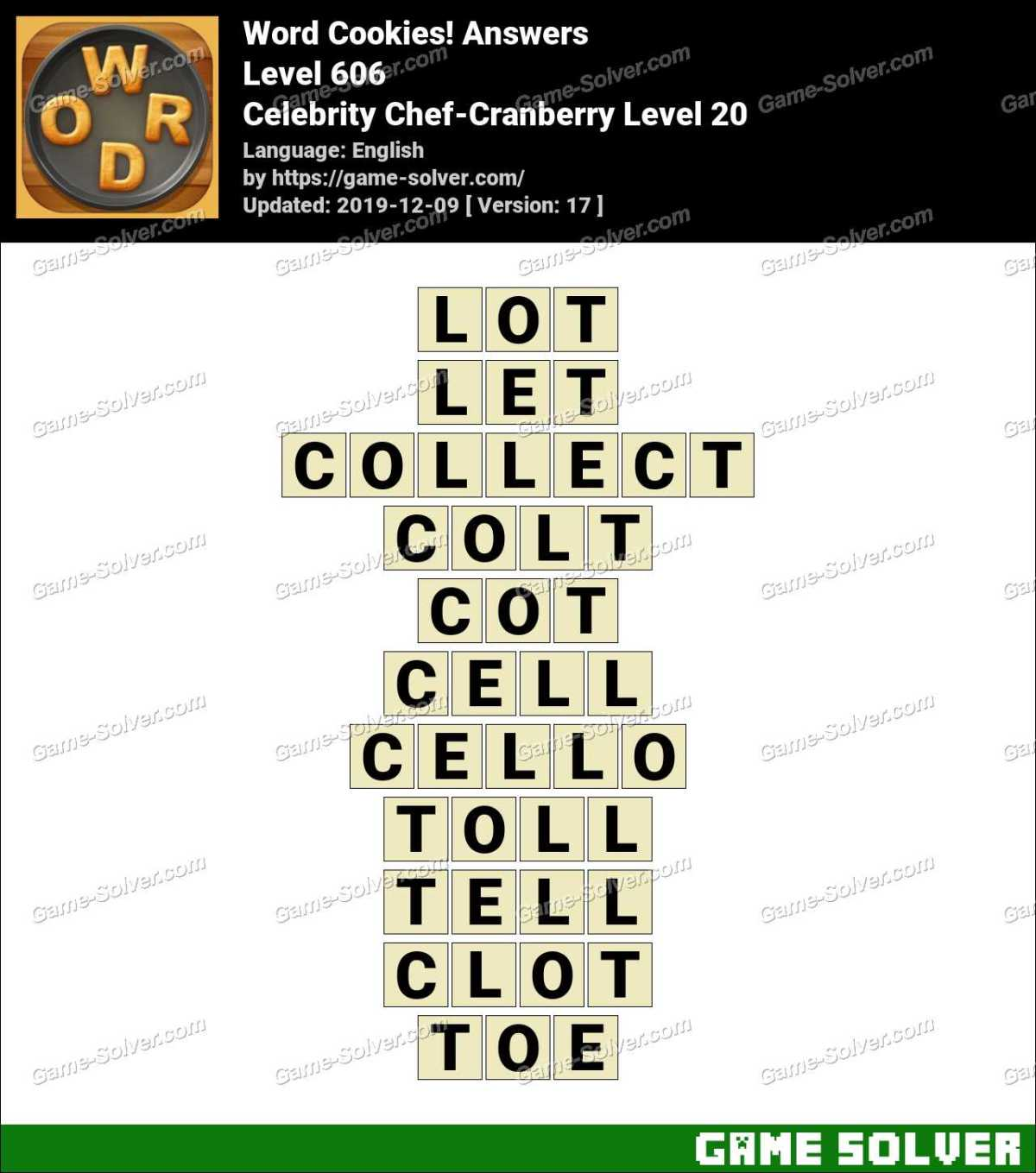 Word Cookies Celebrity Chef-Cranberry Level 20 Answers