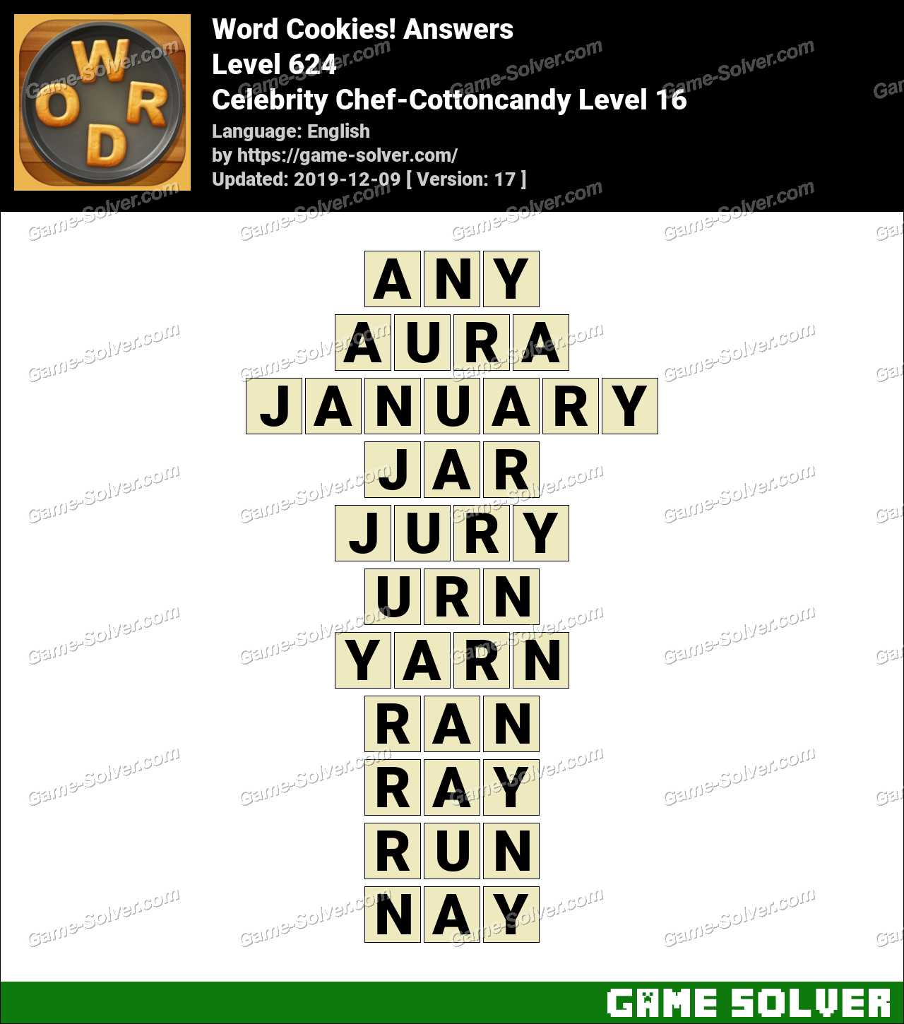 Word Cookies Celebrity Chef-Cottoncandy Level 16 Answers