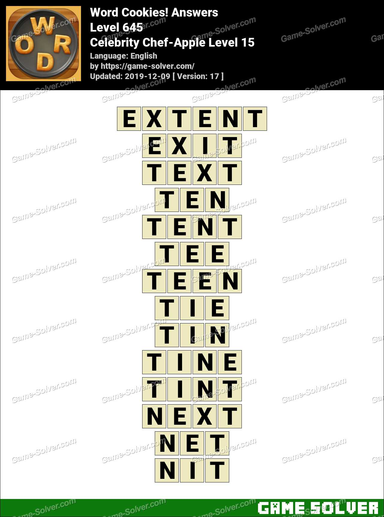 Word Cookies Celebrity Chef-Apple Level 15 Answers