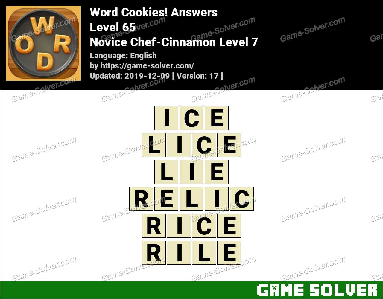 Word Cookies Novice Chef-Cinnamon Level 7 Answers