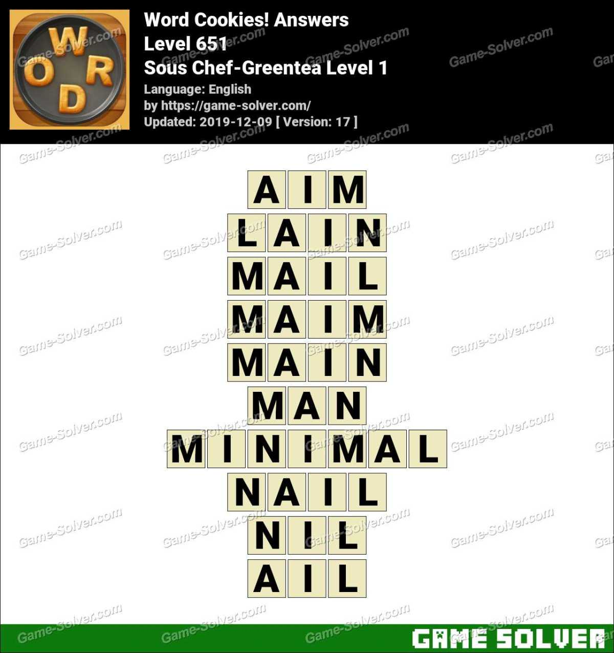 Word Cookies Sous Chef-Greentea Level 1 Answers
