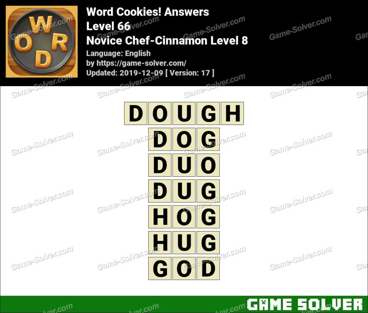 Word Cookies Novice Chef-Cinnamon Level 8 Answers