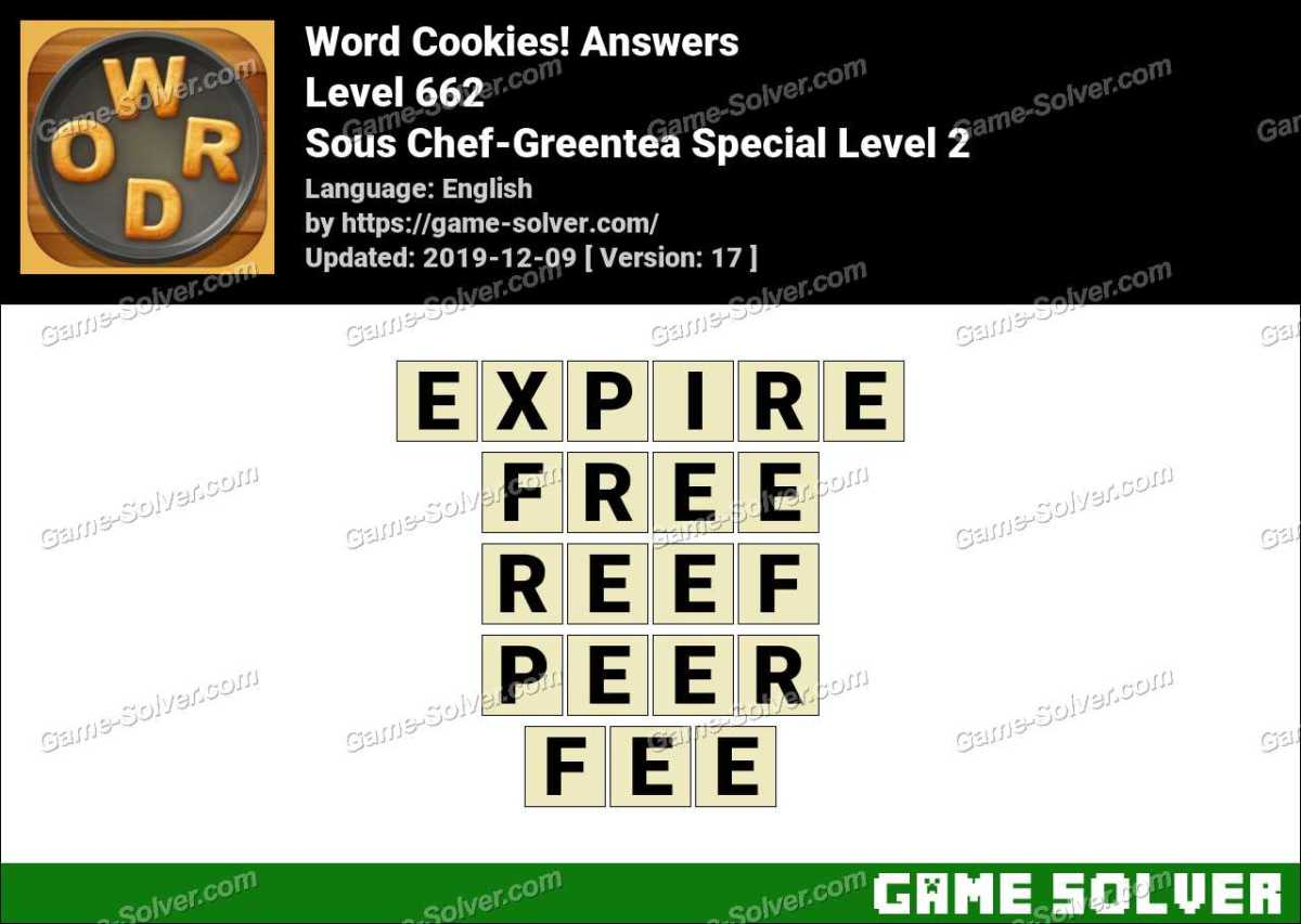 Word Cookies Sous Chef-Greentea Special Level 2 Answers