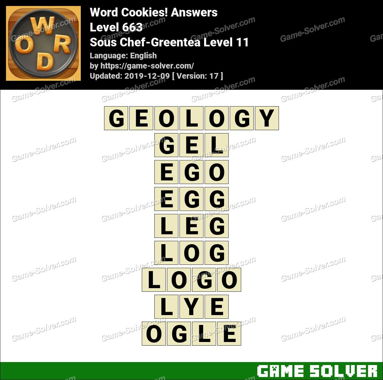 Word Cookies Sous Chef-Greentea Level 11 Answers