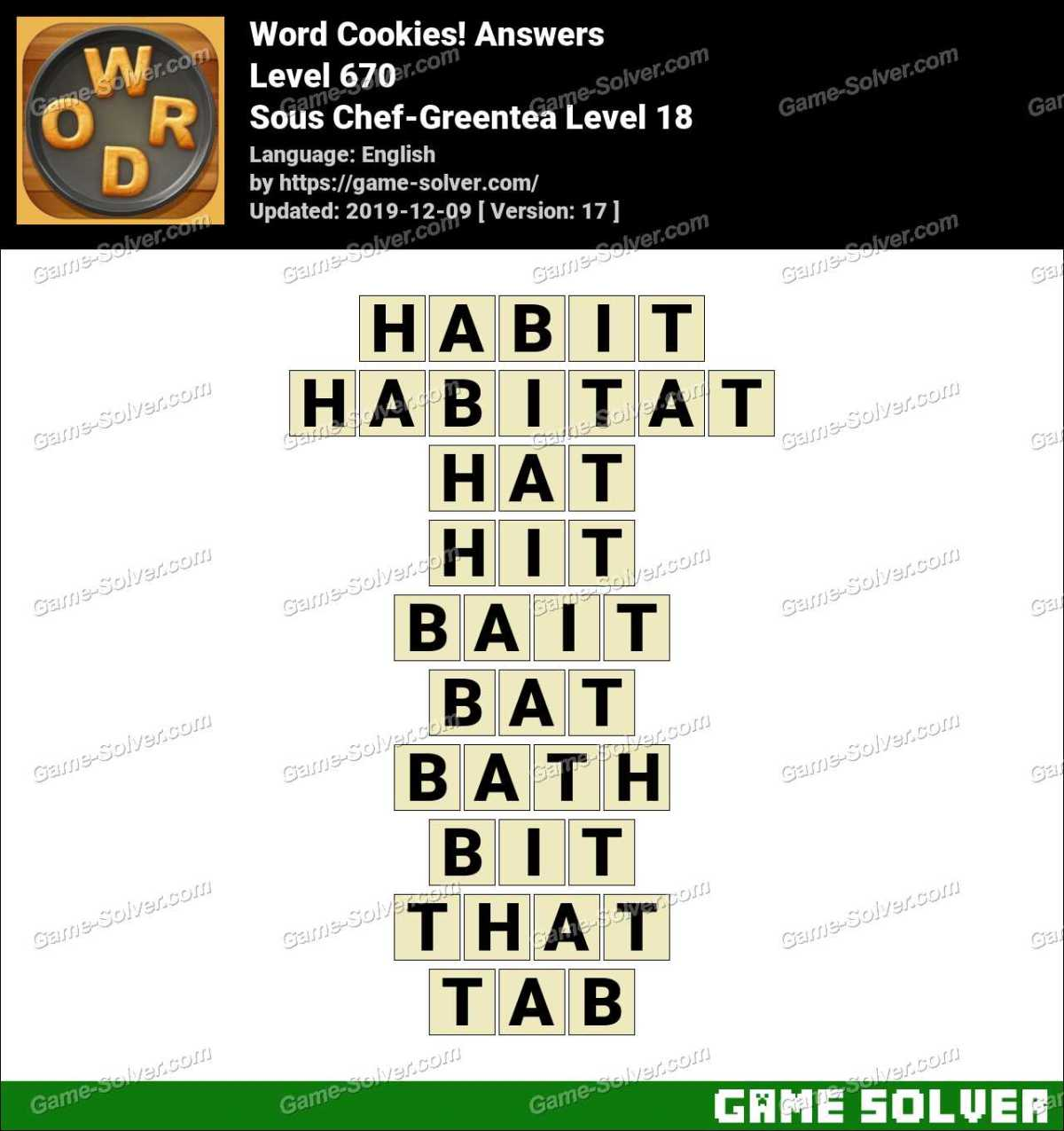 Word Cookies Sous Chef-Greentea Level 18 Answers