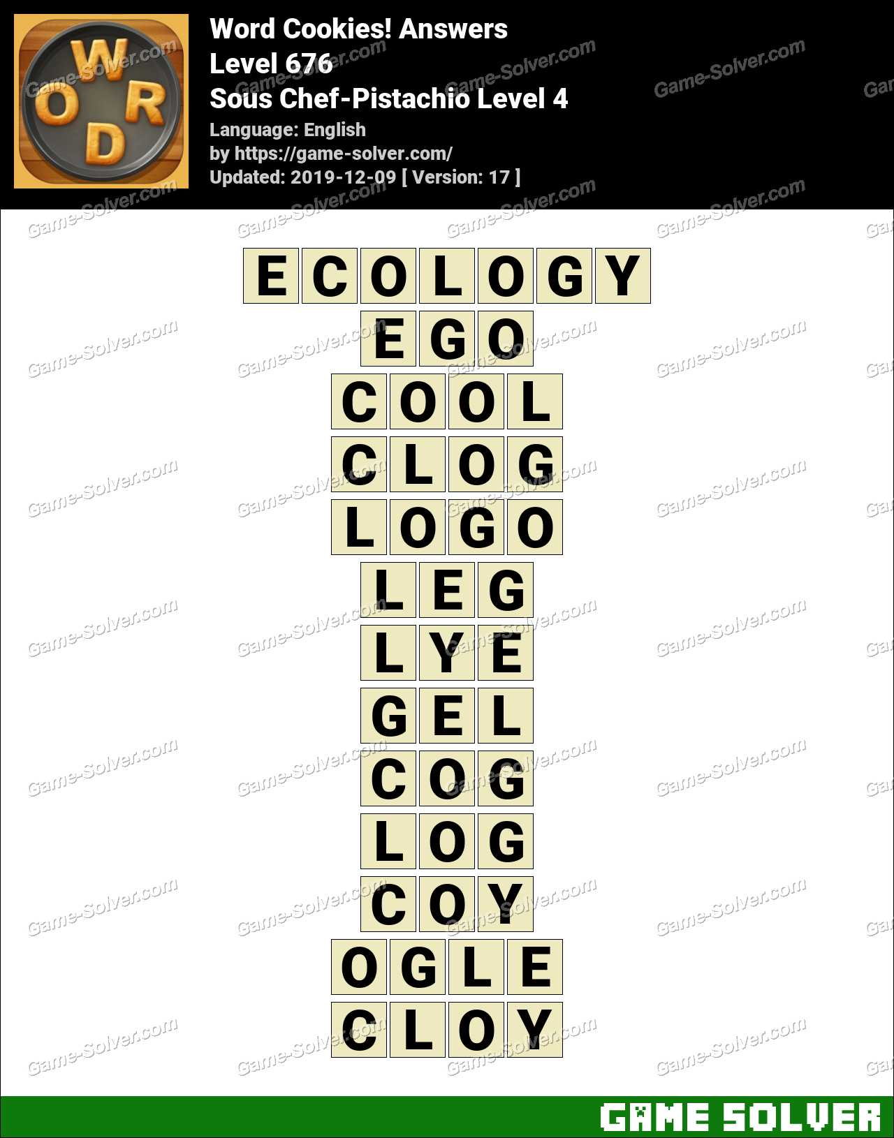 Word Cookies Sous Chef-Pistachio Level 4 Answers