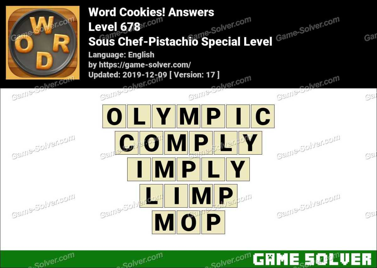 Word Cookies Sous Chef-Pistachio Special Level Answers