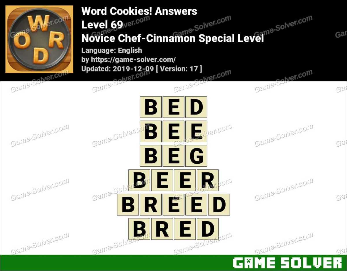 Word Cookies Novice Chef Cinnamon Special Level Answers Game Solver