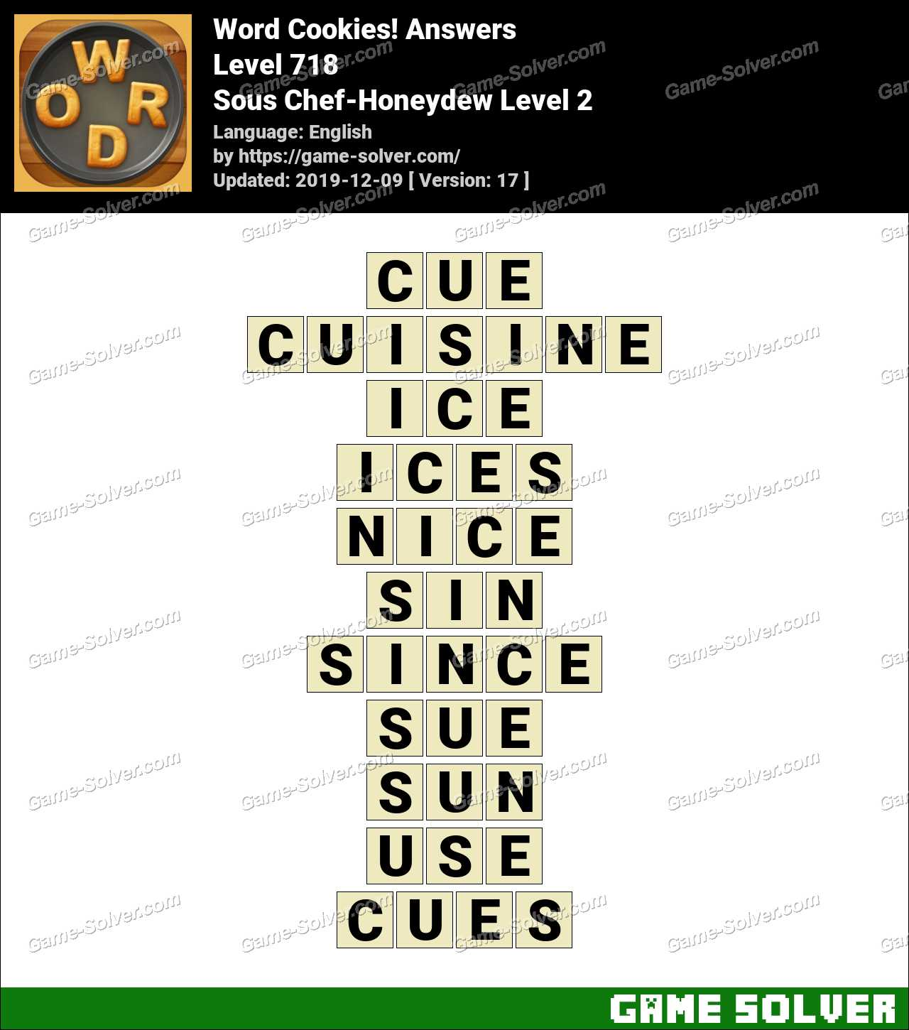 Word Cookies Sous Chef-Honeydew Level 2 Answers