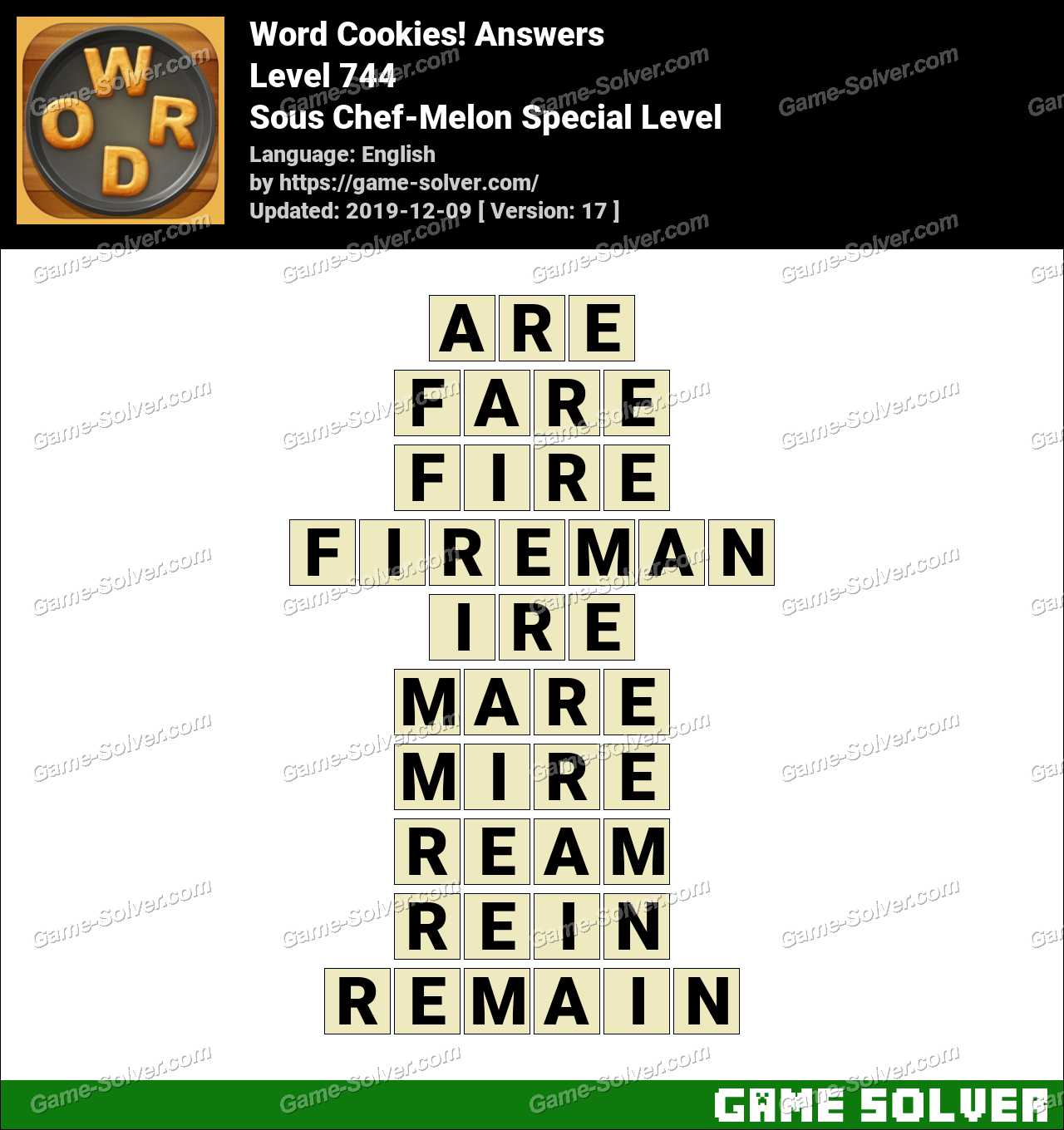 Word Cookies Sous Chef-Melon Special Level Answers