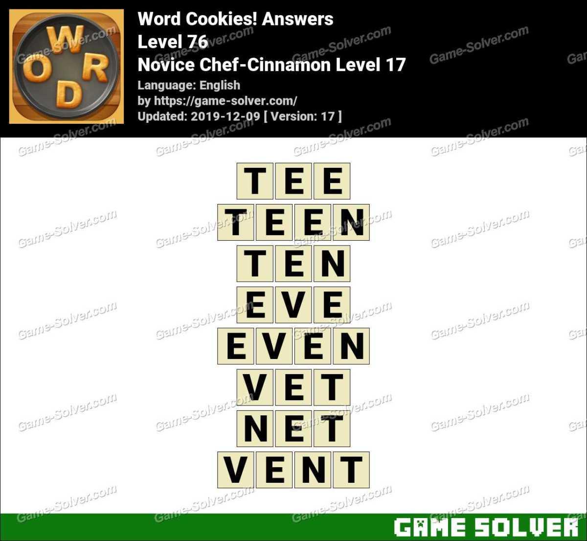 Word Cookies Novice Chef-Cinnamon Level 17 Answers