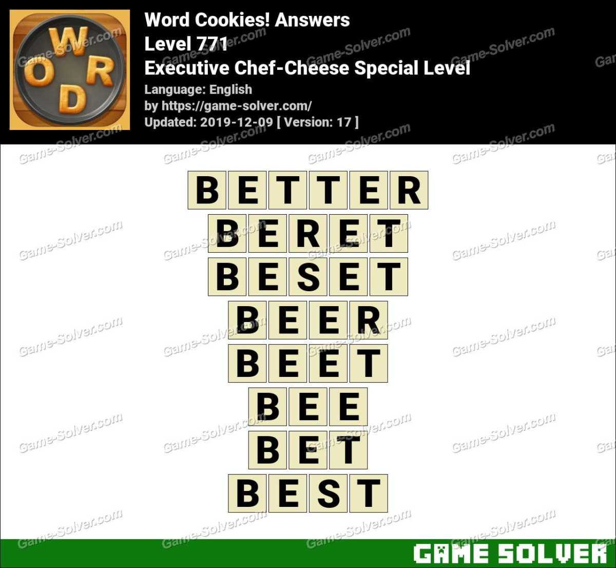 Word Cookies Executive Chef-Cheese Special Level Answers