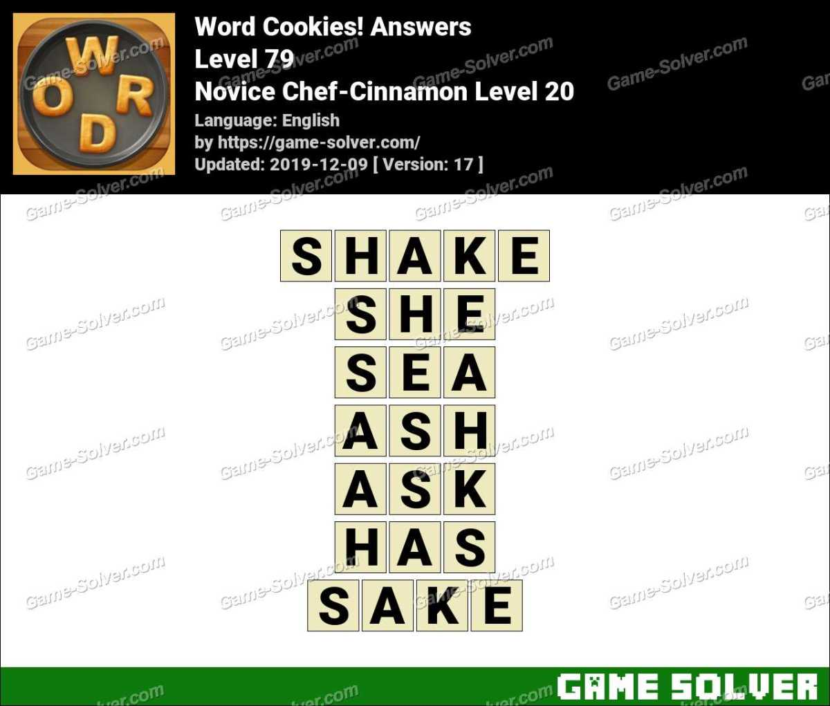 Word Cookies Novice Chef-Cinnamon Level 20 Answers