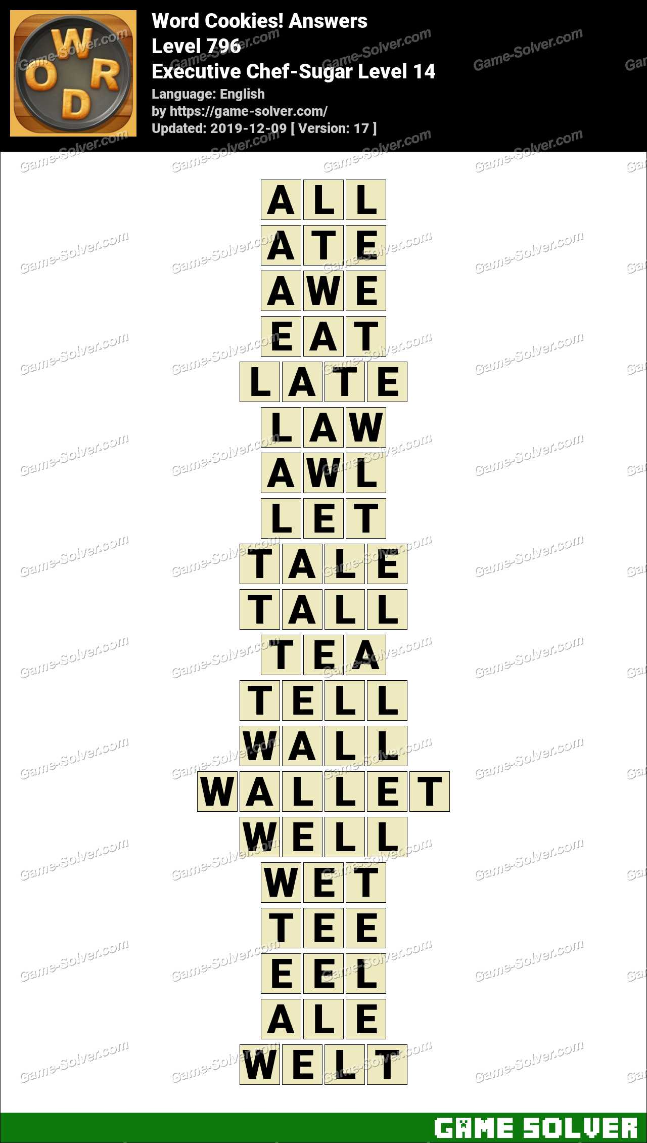 Word Cookies Executive Chef-Sugar Level 14 Answers