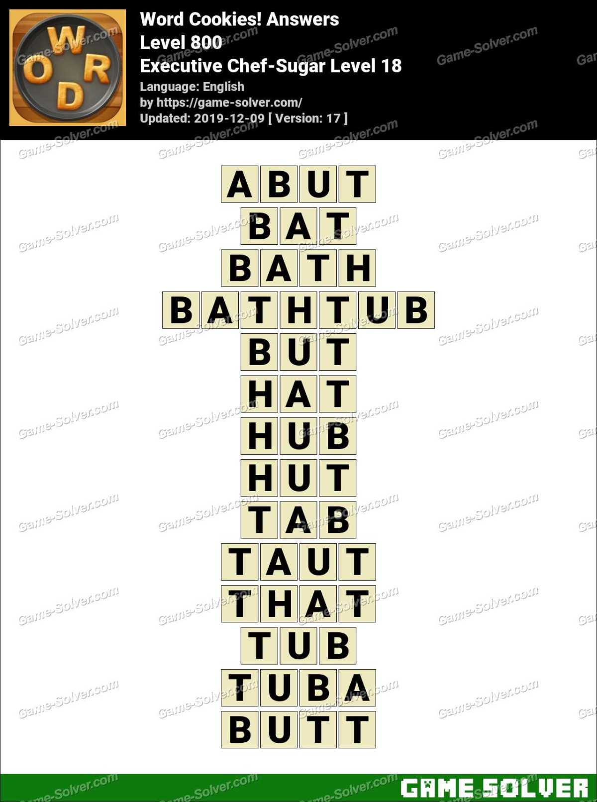 Word Cookies Executive Chef-Sugar Level 18 Answers