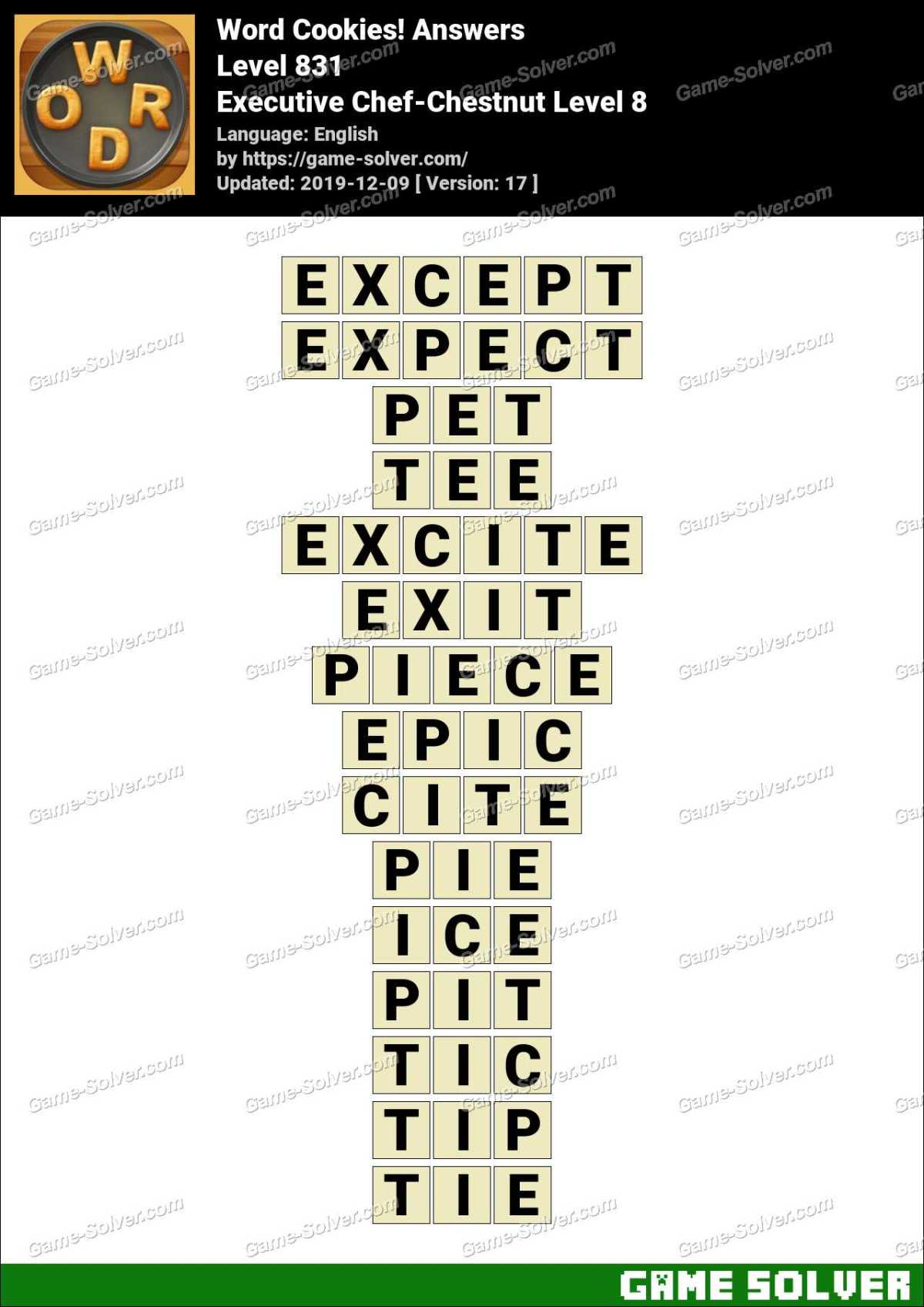 Word Cookies Executive Chef-Chestnut Level 8 Answers