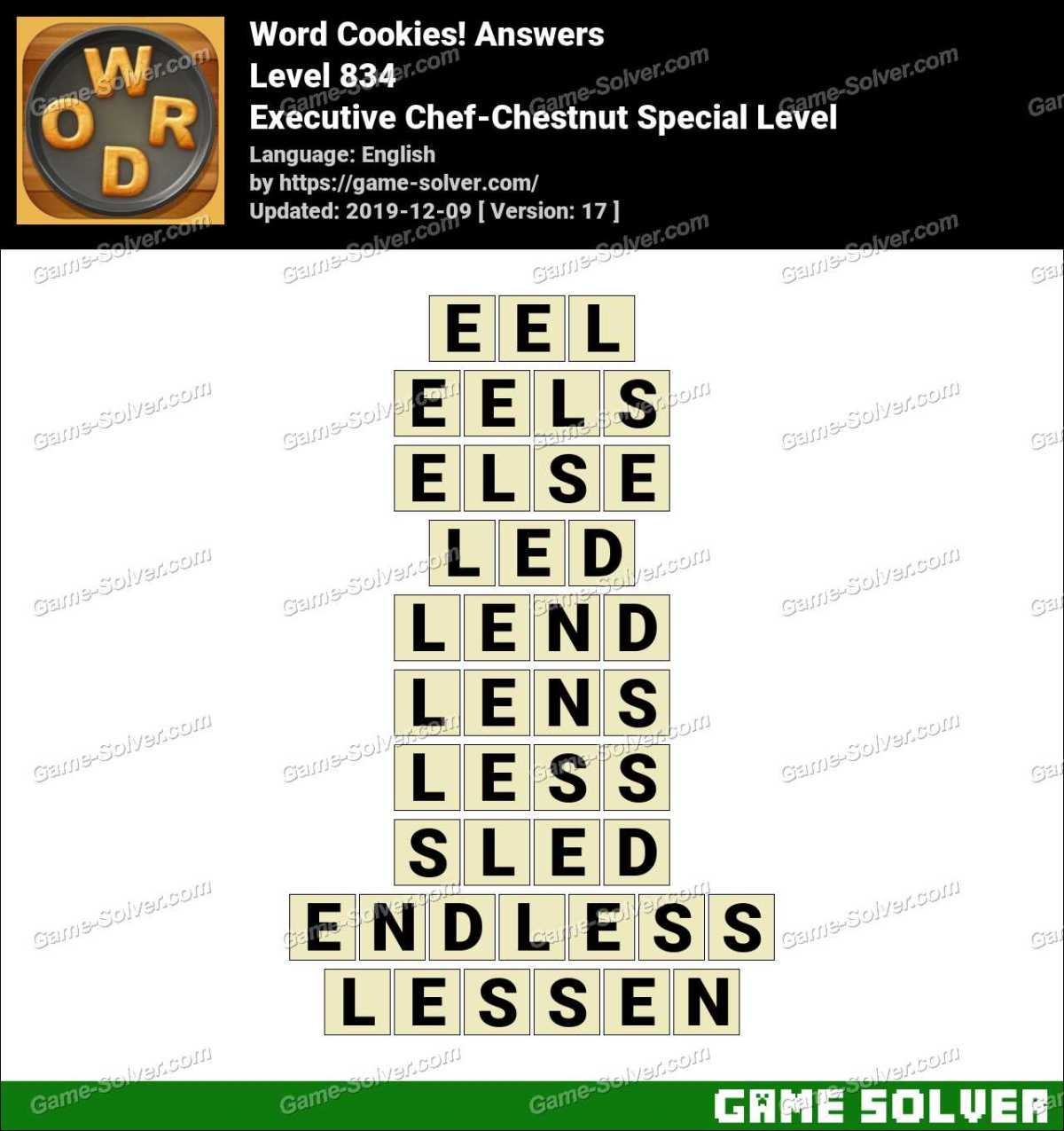Word Cookies Executive Chef-Chestnut Special Level Answers