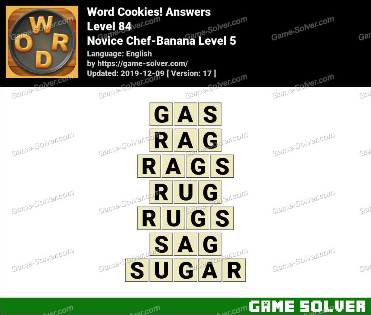 Word Cookies Novice Chef-Banana Level 5 Answers