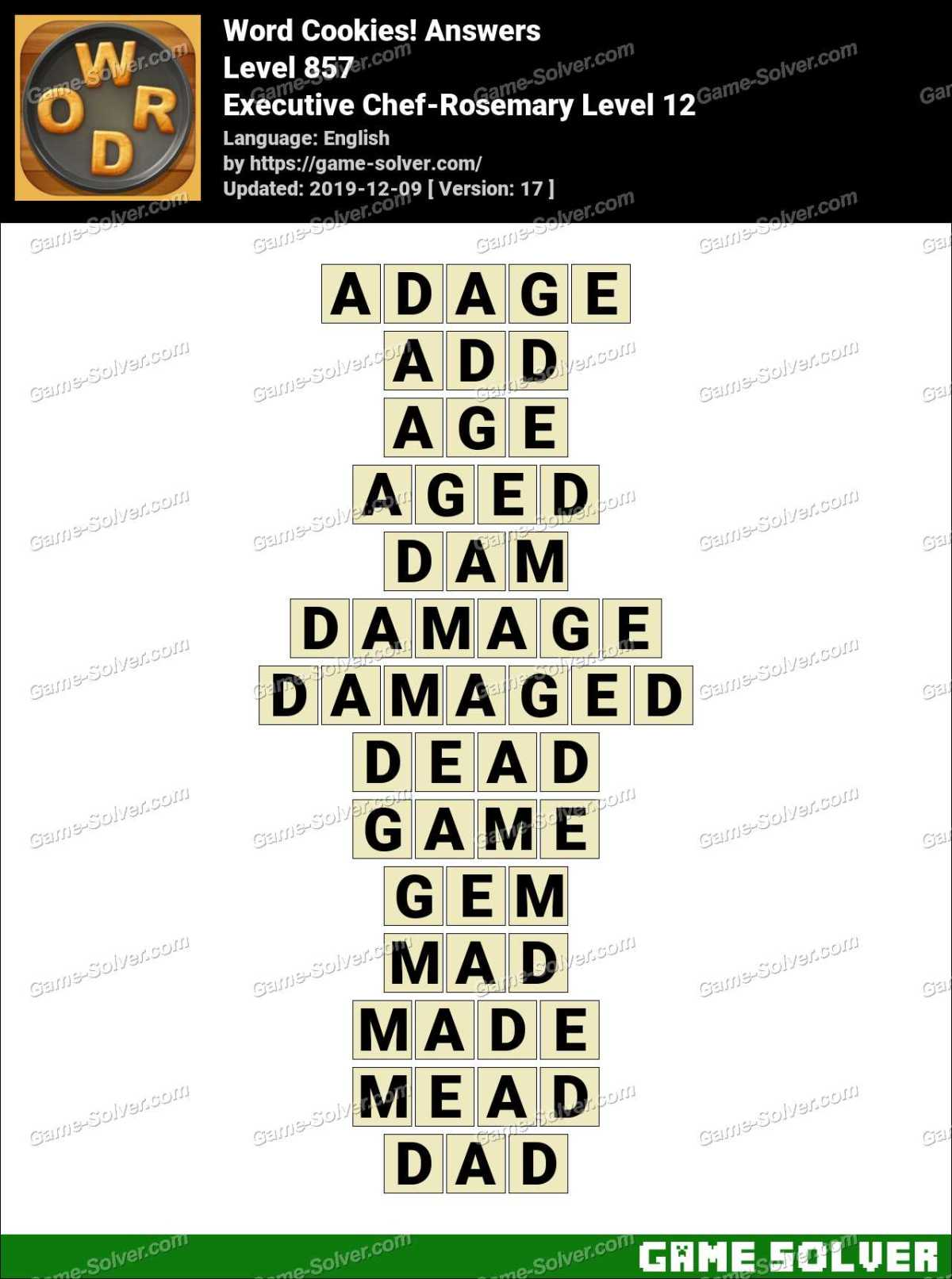 Word Cookies Executive Chef-Rosemary Level 12 Answers