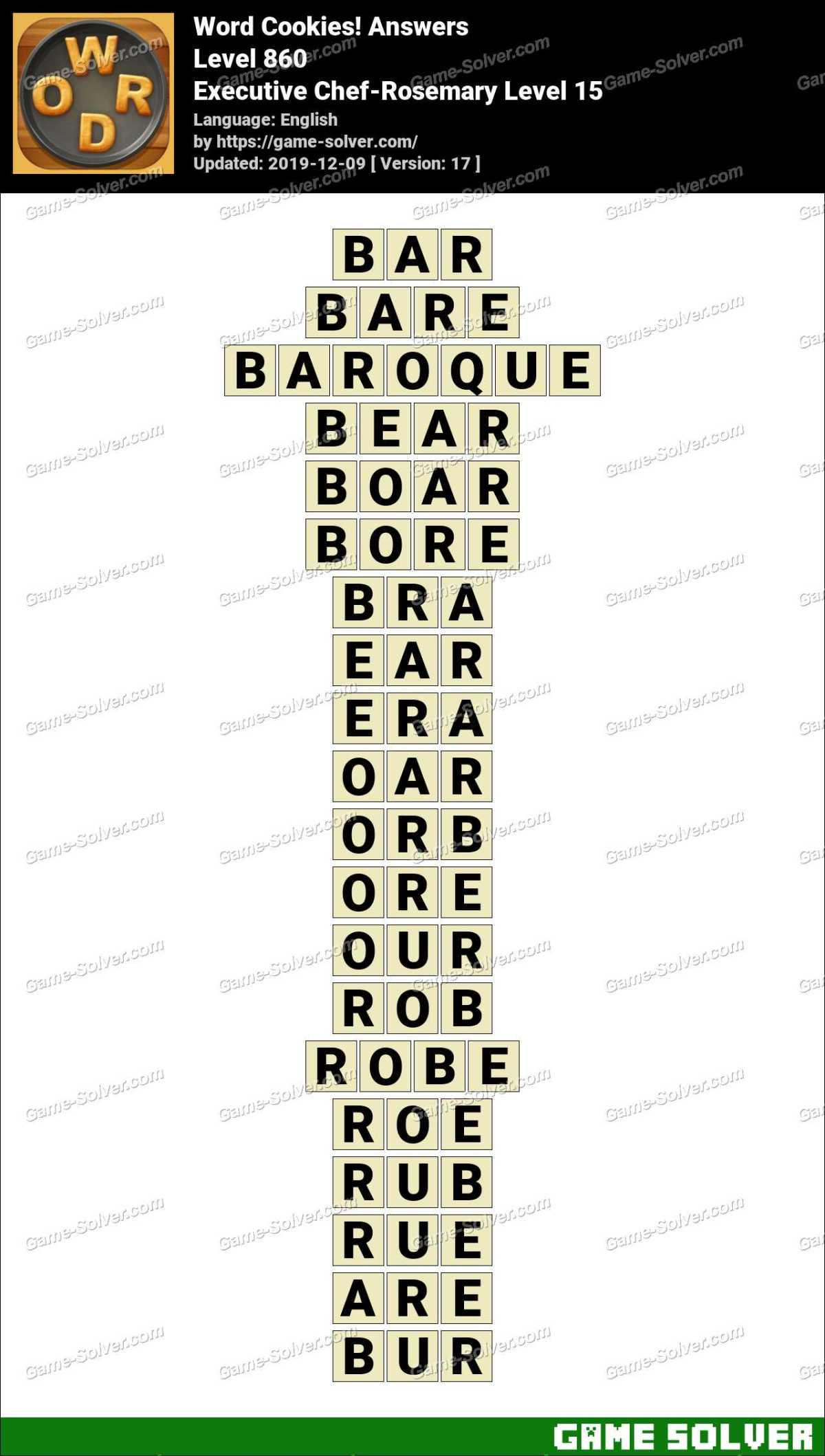 Word Cookies Executive Chef-Rosemary Level 15 Answers