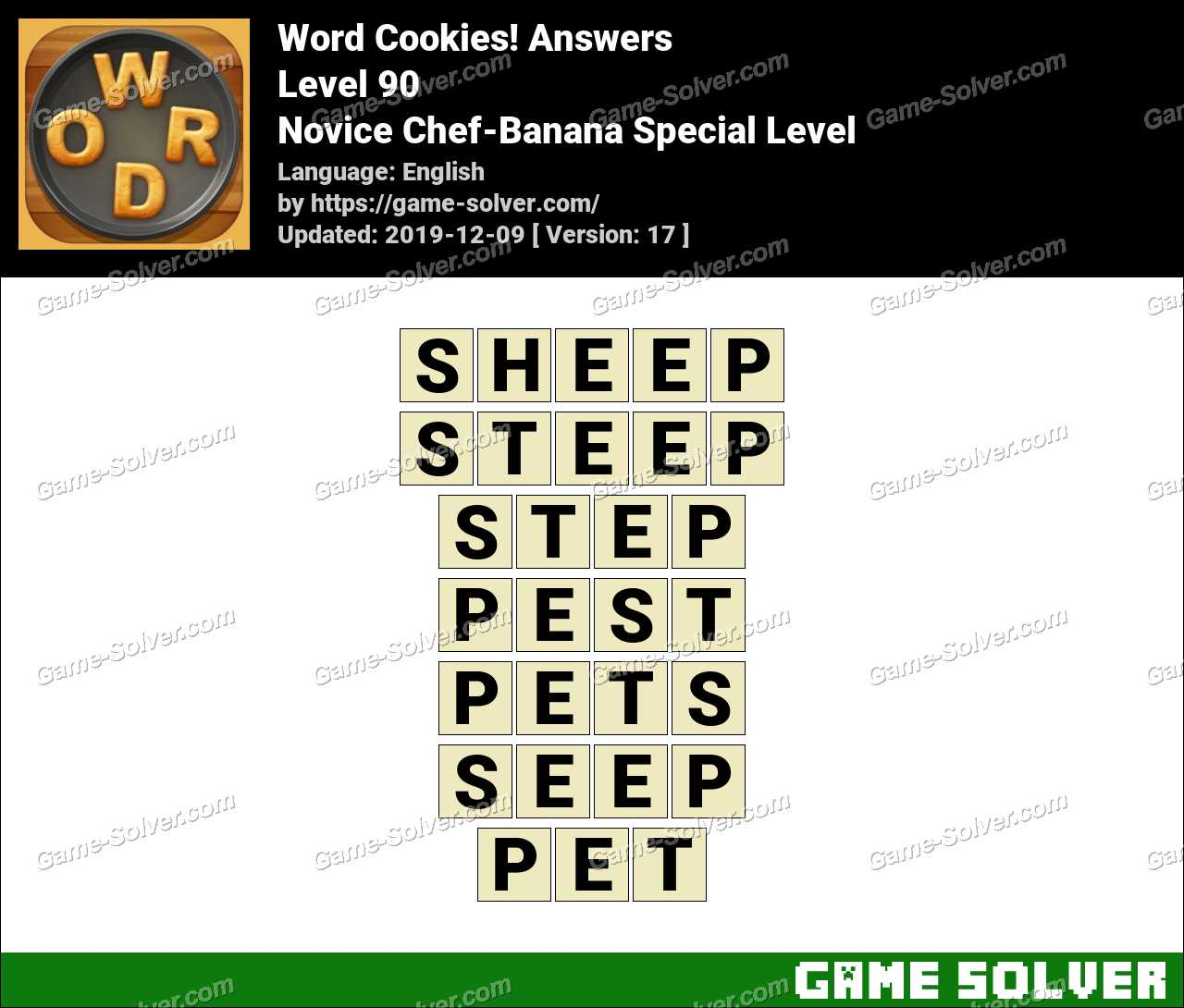 Word Cookies Novice Chef-Banana Special Level Answers