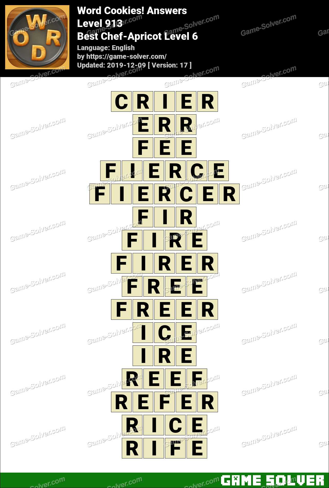 Word Cookies Best Chef-Apricot Level 6 Answers