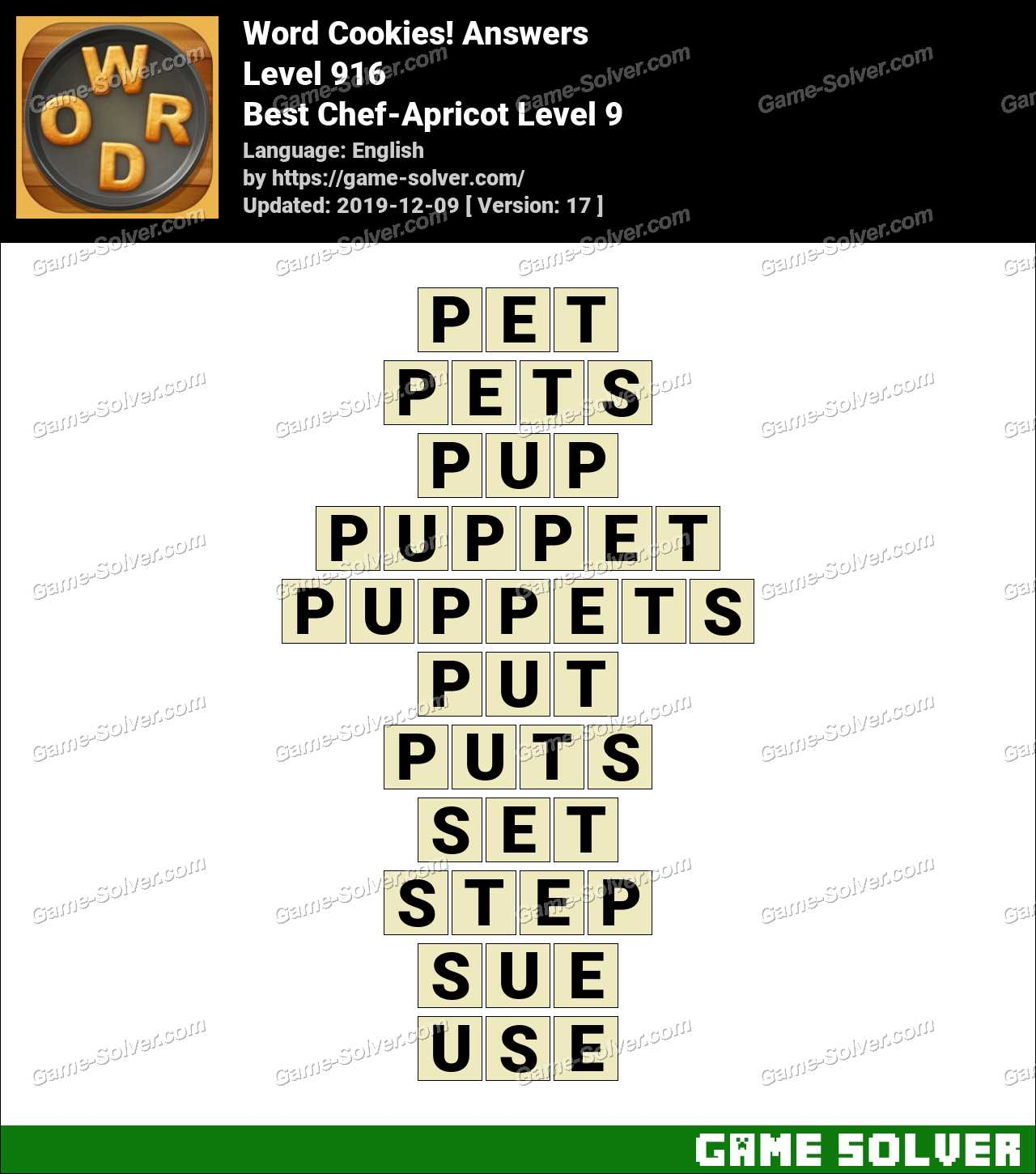 Word Cookies Best Chef-Apricot Level 9 Answers