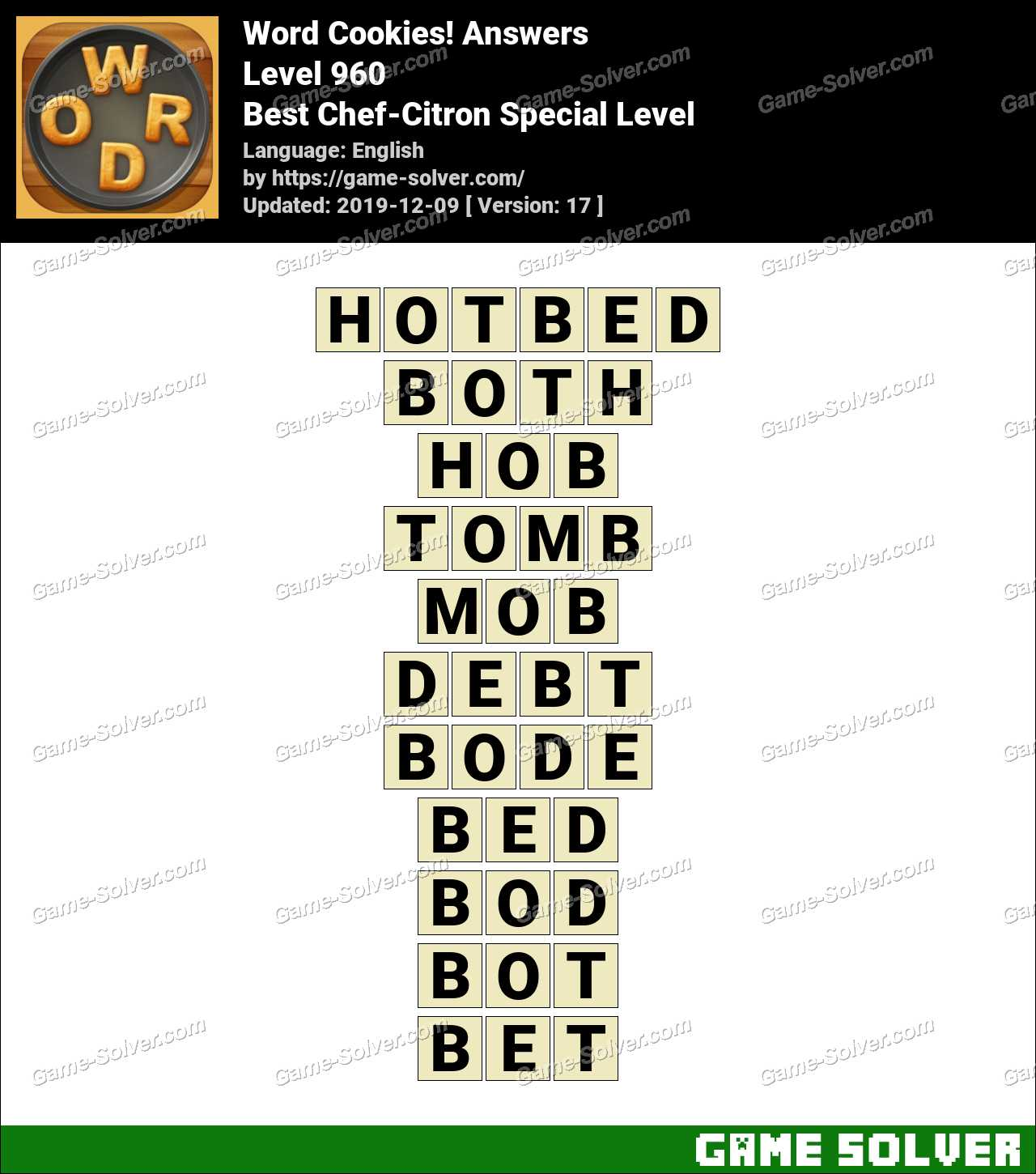 Word Cookies Best Chef-Citron Special Level Answers