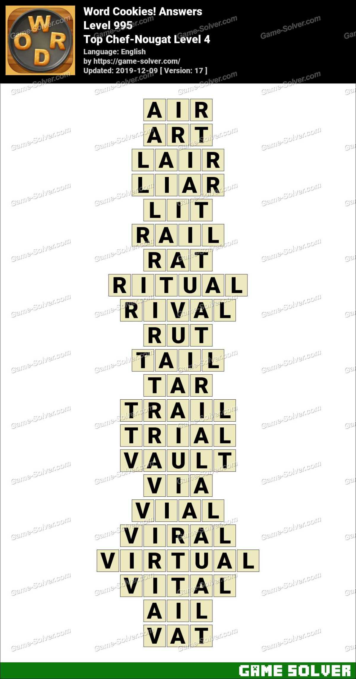 Word Cookies Top Chef-Nougat Level 4 Answers