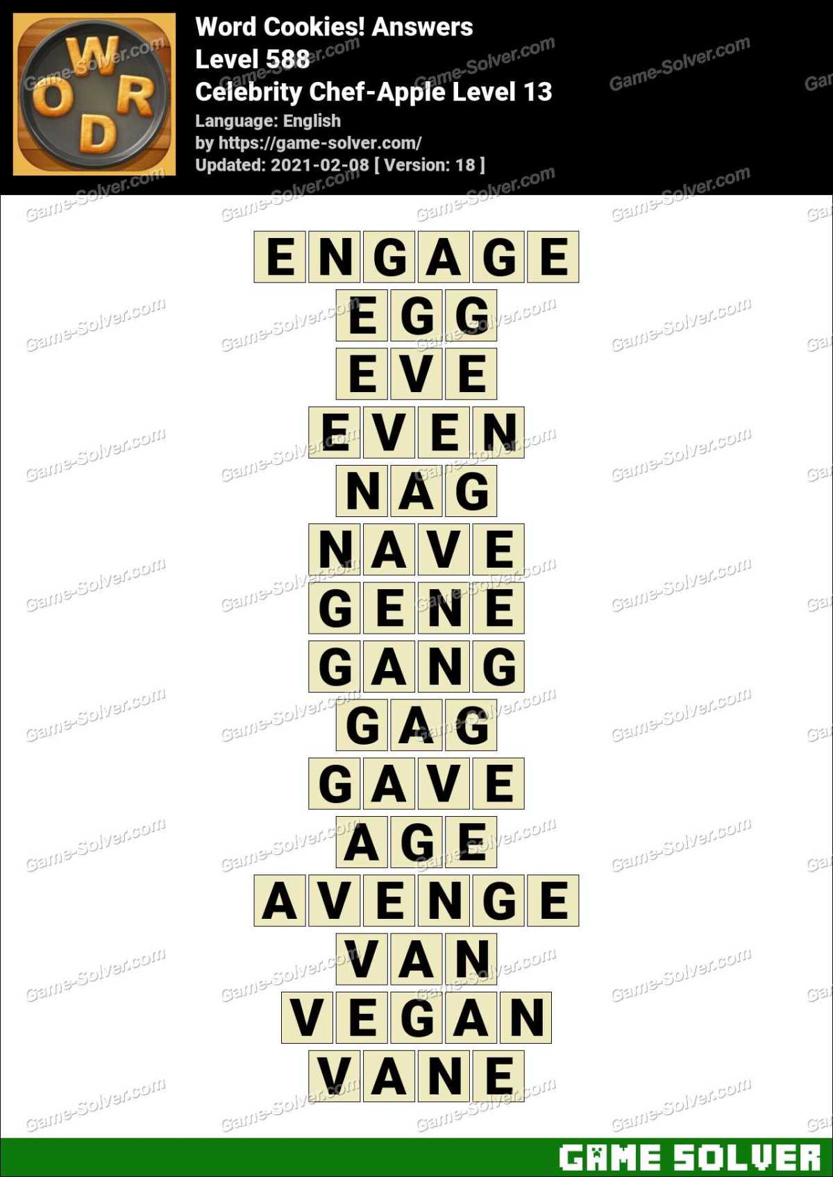 Word Cookies Celebrity Chef-Apple Level 13 Answers