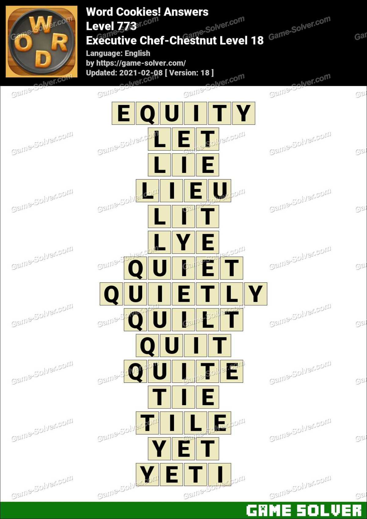 Word Cookies Executive Chef-Chestnut Level 18 Answers