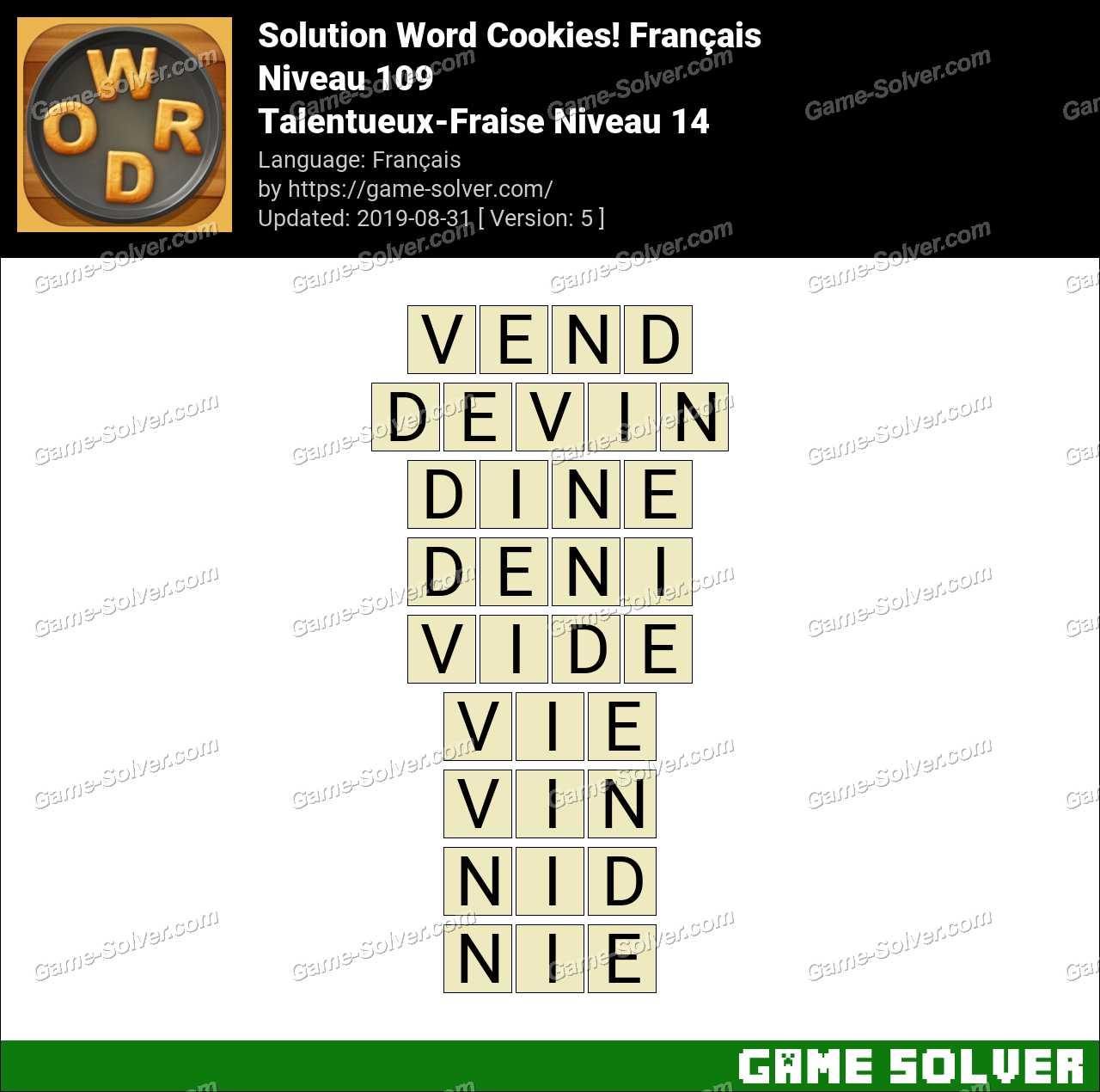 Solution Word Cookies Talentueux-Fraise Niveau 14