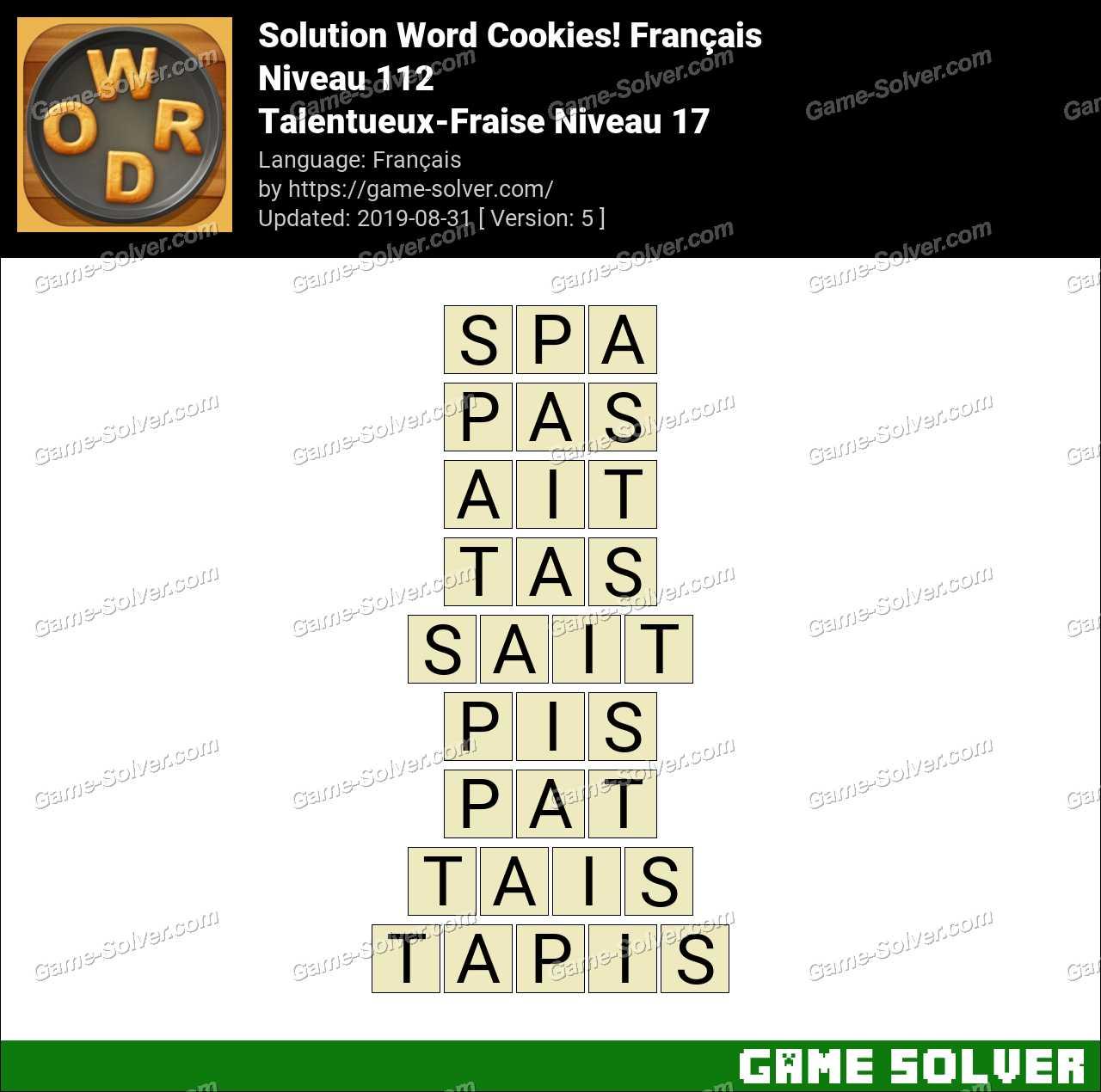 Solution Word Cookies Talentueux-Fraise Niveau 17
