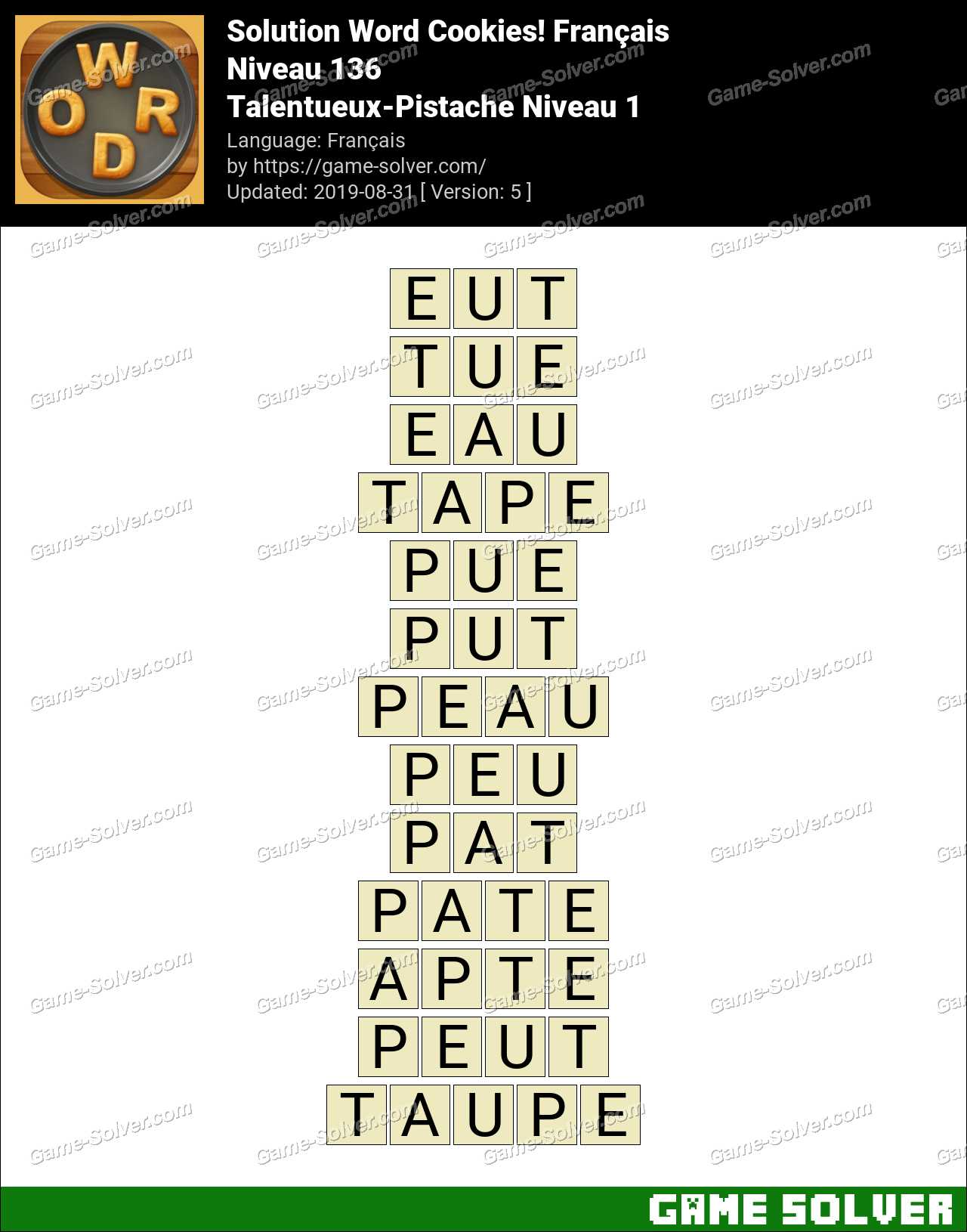 Solution Word Cookies Talentueux-Pistache Niveau 1