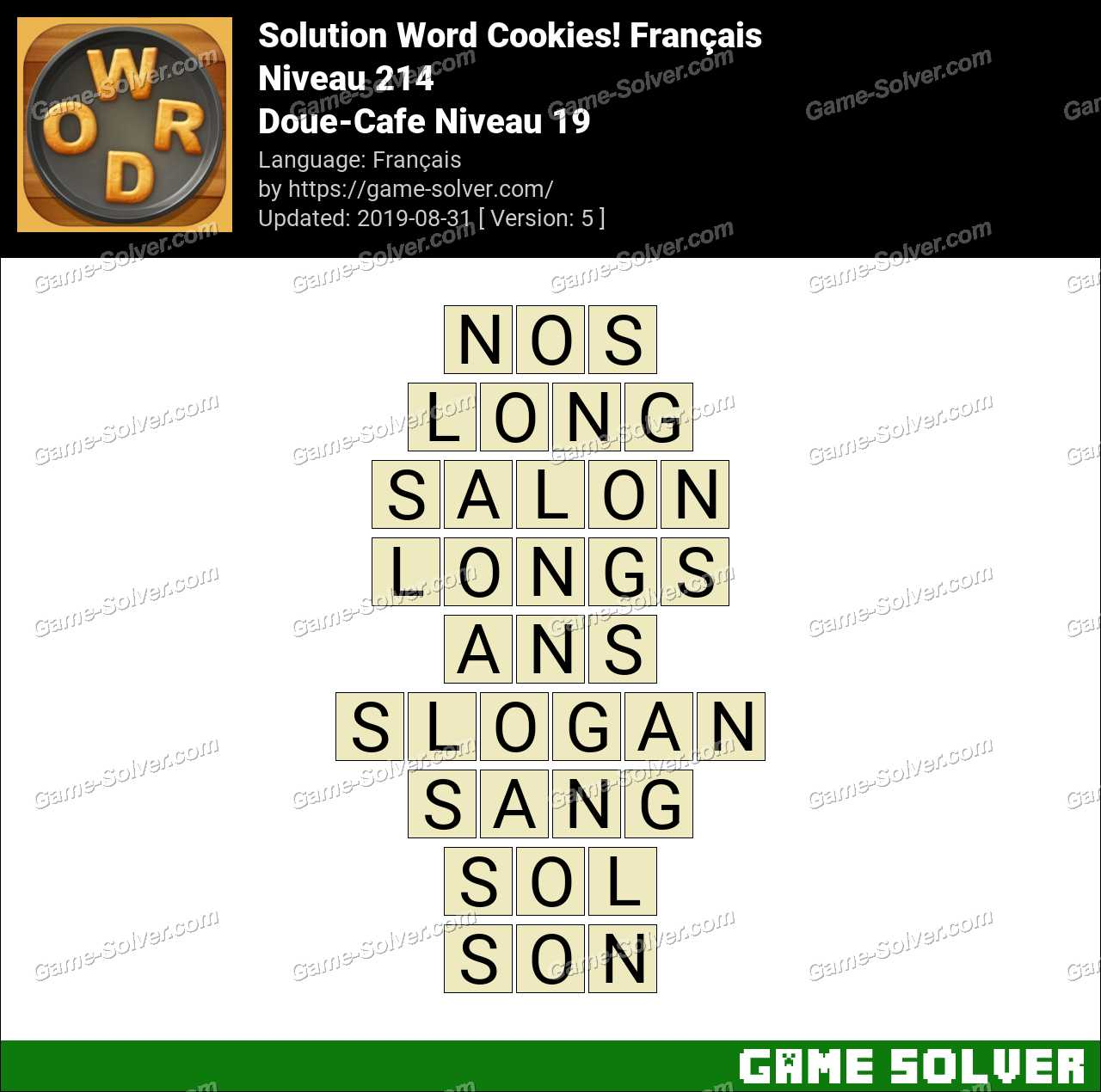 Solution Word Cookies Doue-Cafe Niveau 19