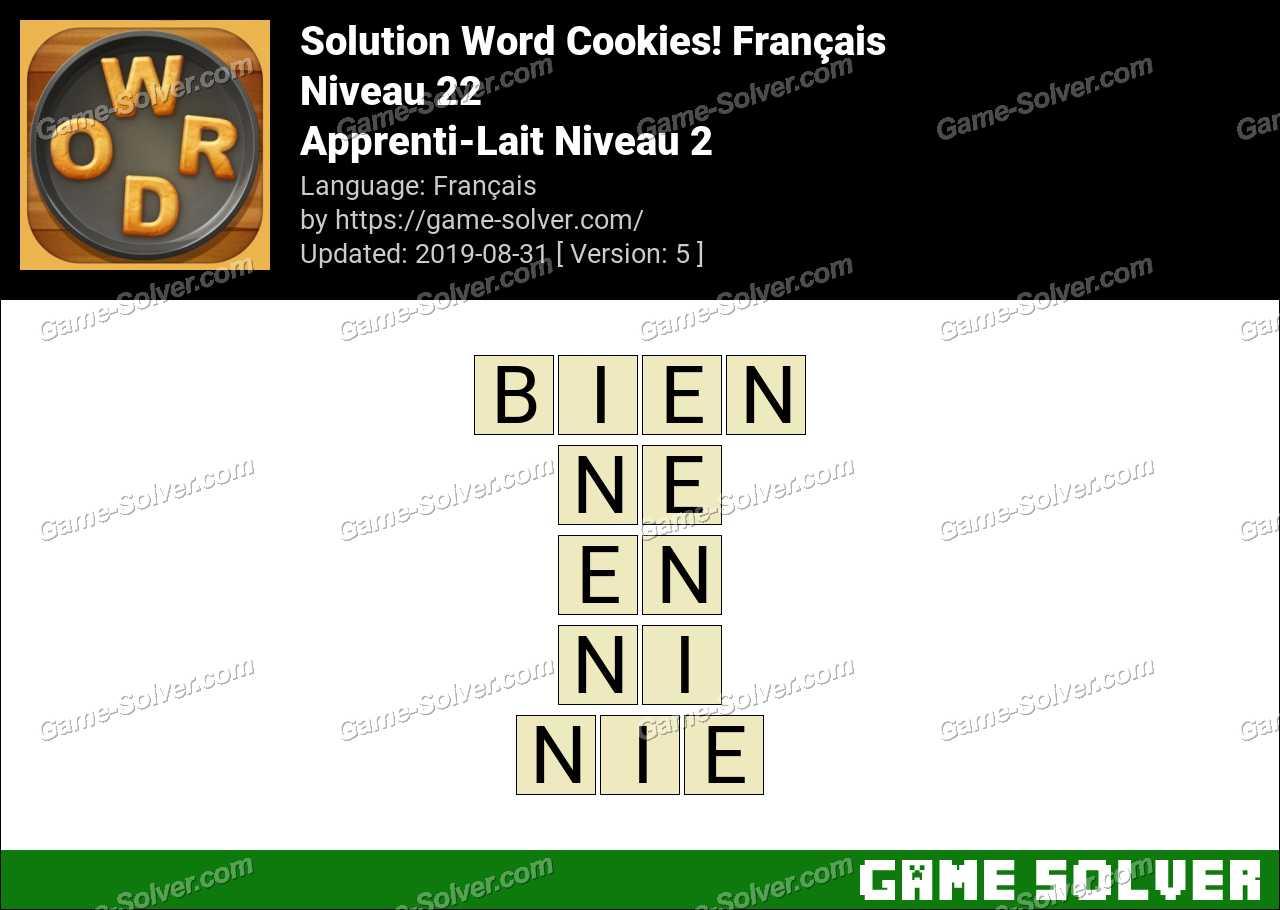 Solution Word Cookies Apprenti-Lait Niveau 2