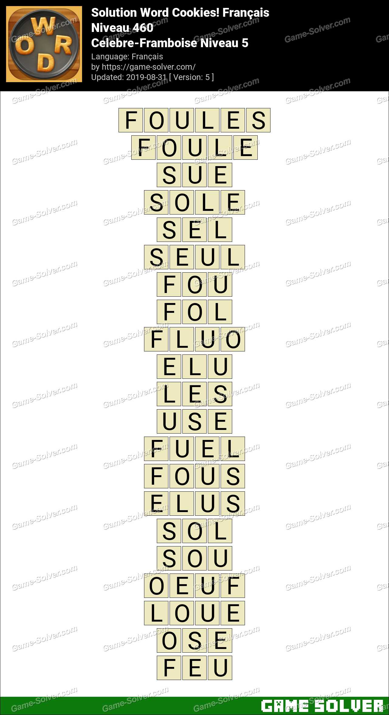 Solution Word Cookies Celebre-Framboise Niveau 5