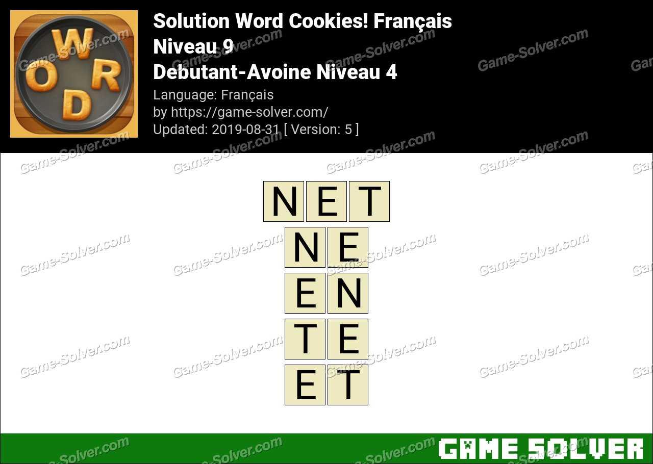Solution Word Cookies Debutant-Avoine Niveau 4