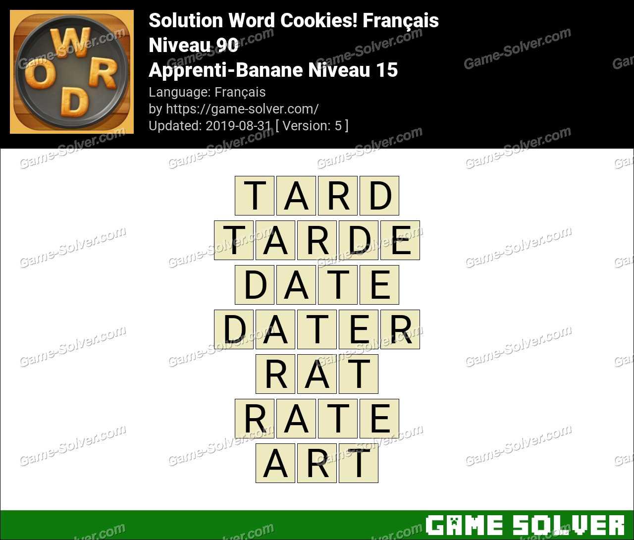 Solution Word Cookies Apprenti-Banane Niveau 15