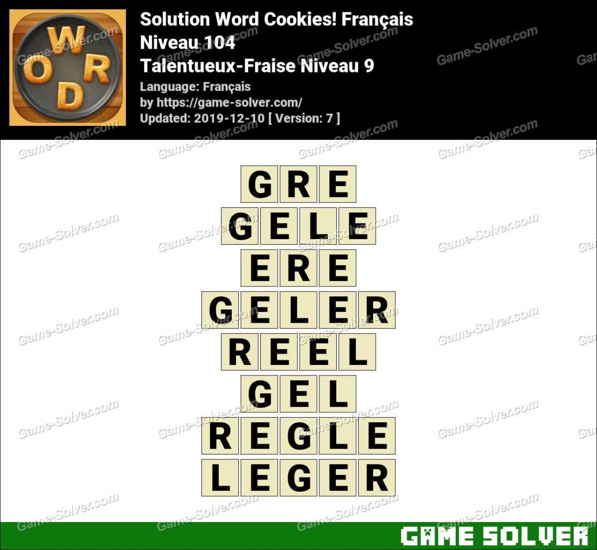 Solution Word Cookies Talentueux-Fraise Niveau 9