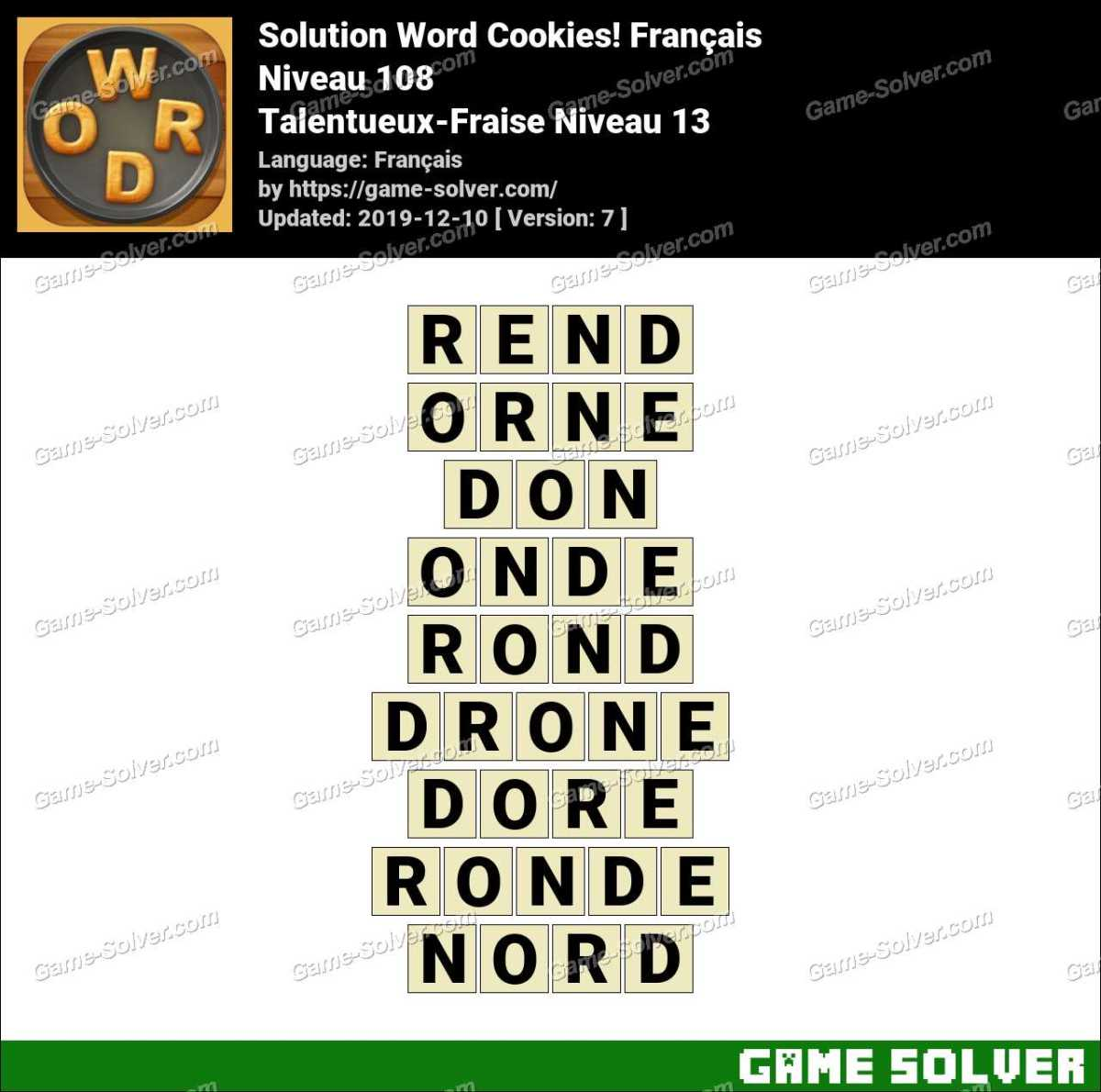 Solution Word Cookies Talentueux-Fraise Niveau 13
