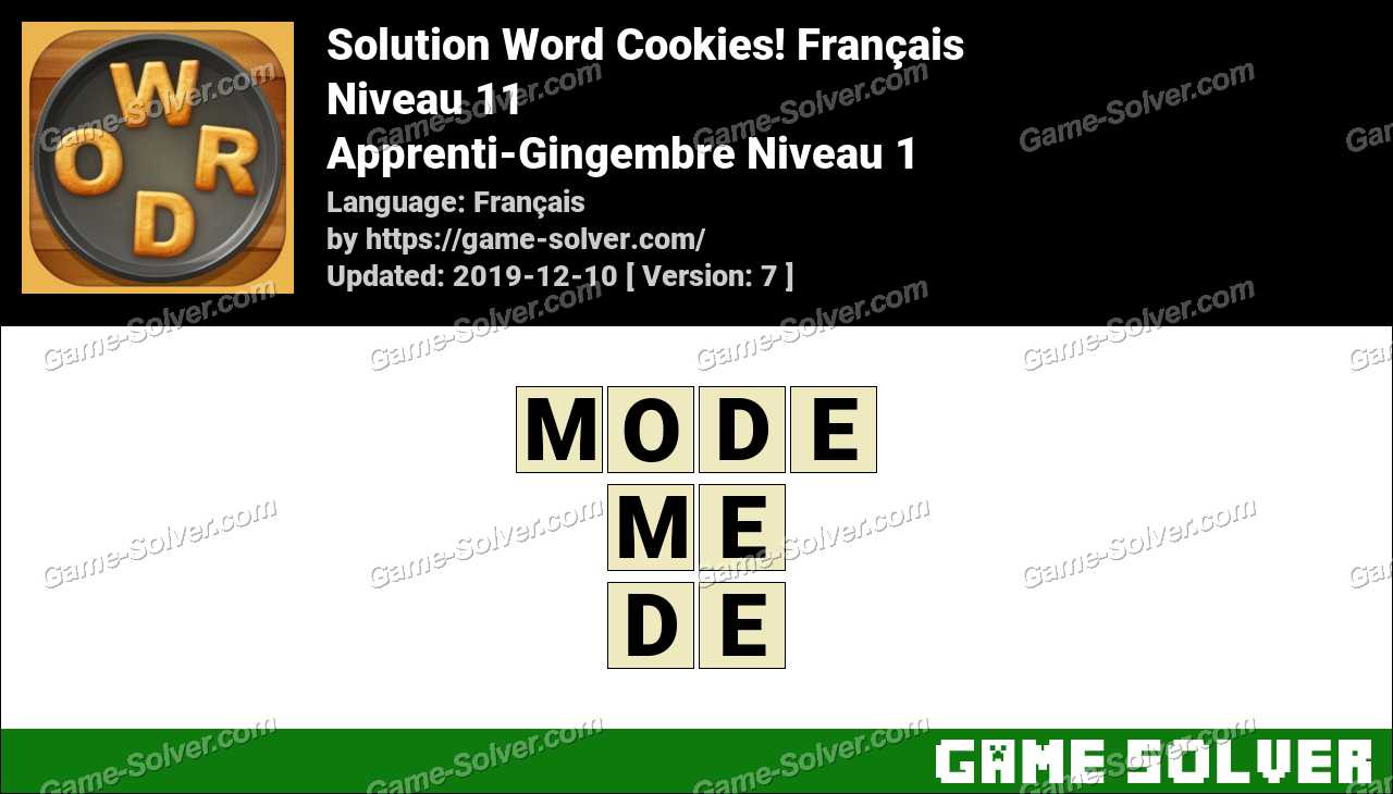 Solution Word Cookies Apprenti-Gingembre Niveau 1