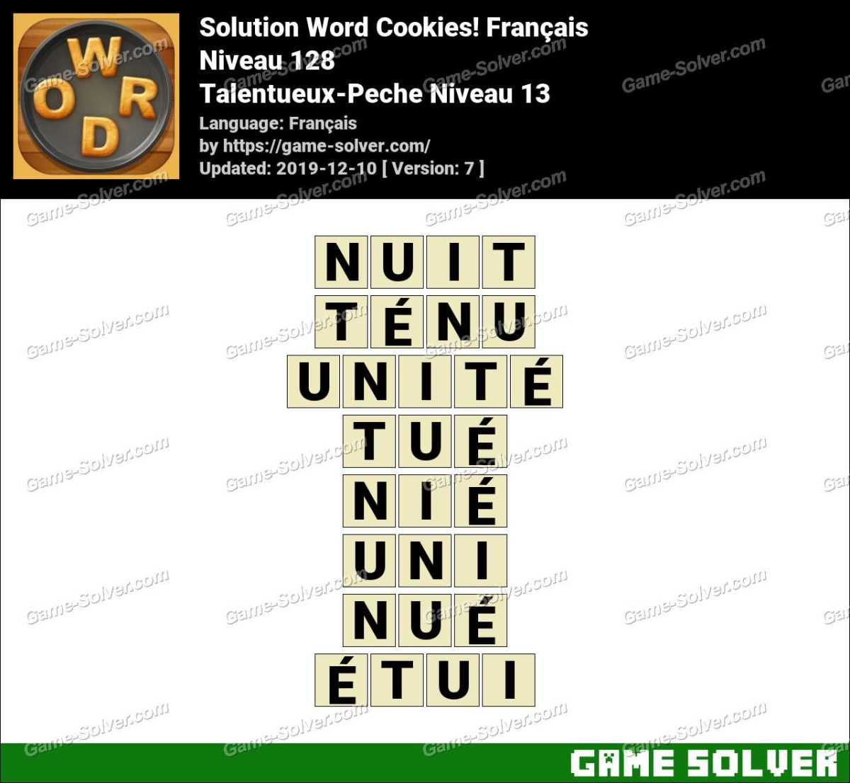 Solution Word Cookies Talentueux-Peche Niveau 13